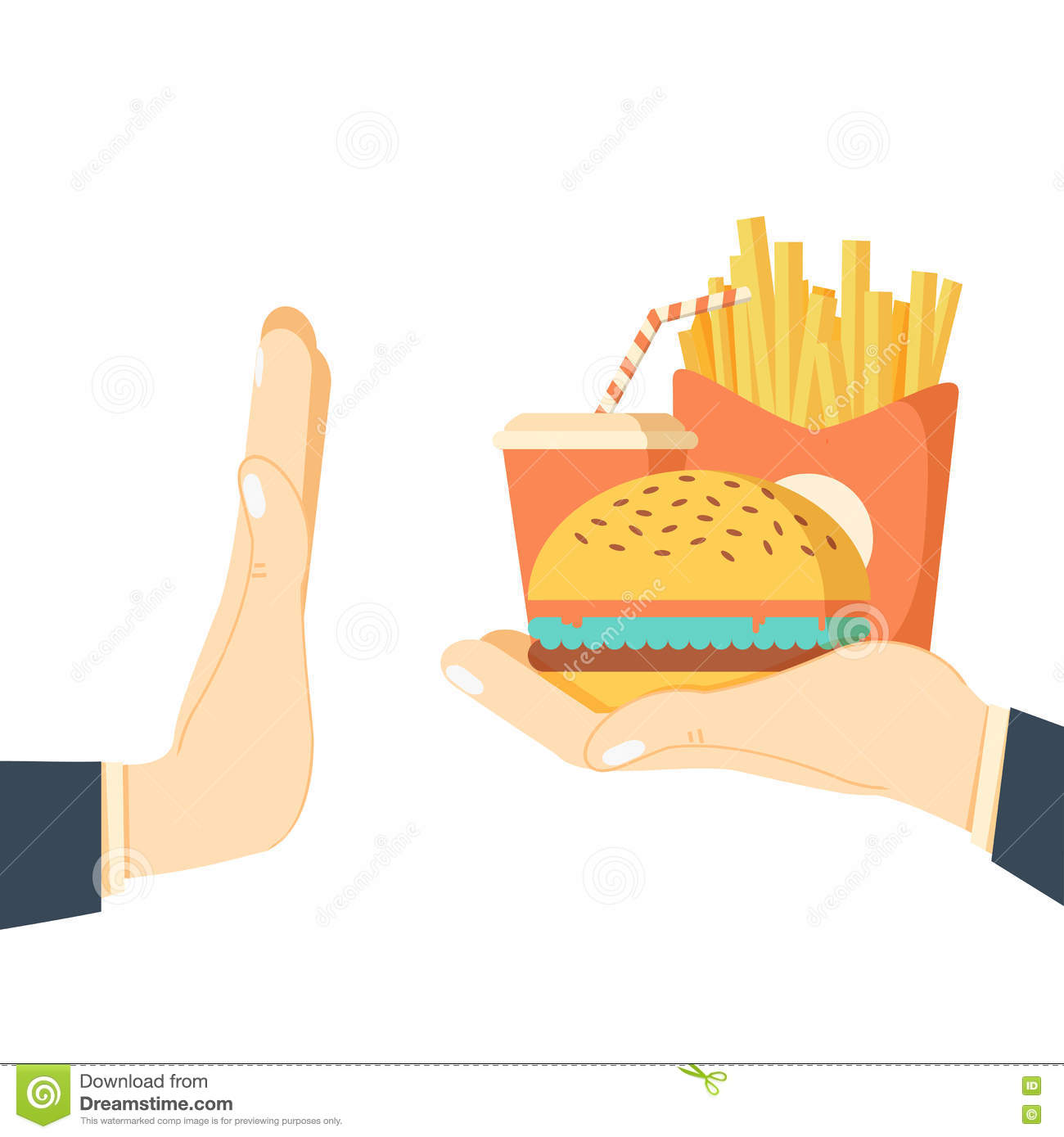 rejecting the offered junk food stock vector image  rejecting the offered junk food