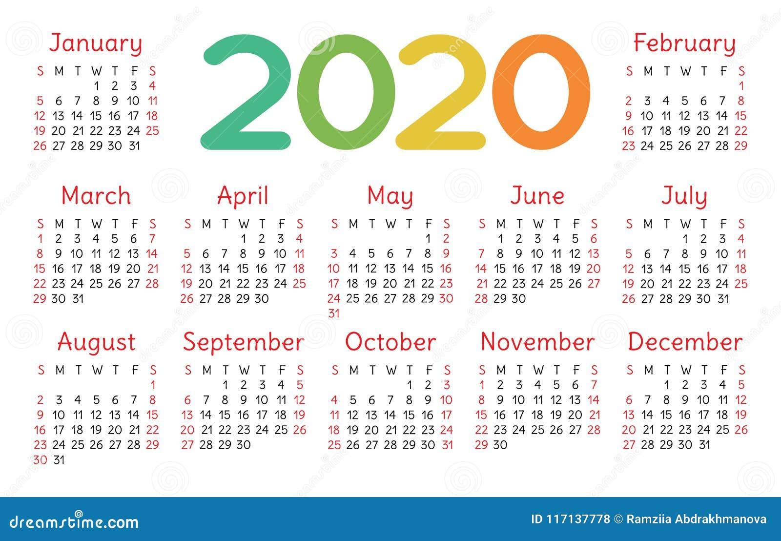Vector De Calendario 2020.Rejilla Basica Del Bolsillo Del Vector Del Calendario 2020