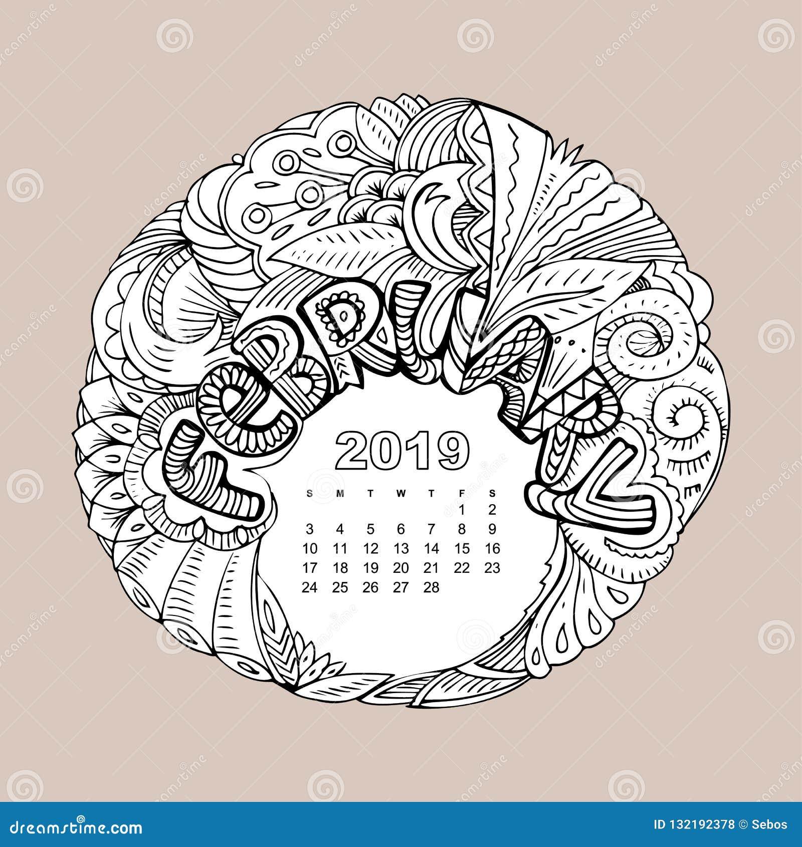 Rejilla Del Calendario Del Año Nuevo Con Poner Letras A Febrero En Estilo  Inspirado Zentangle Mandala De La Navidad Gráfico Del M Ilustración del  Vector - Ilustración de nuevo, rejilla: 132192378