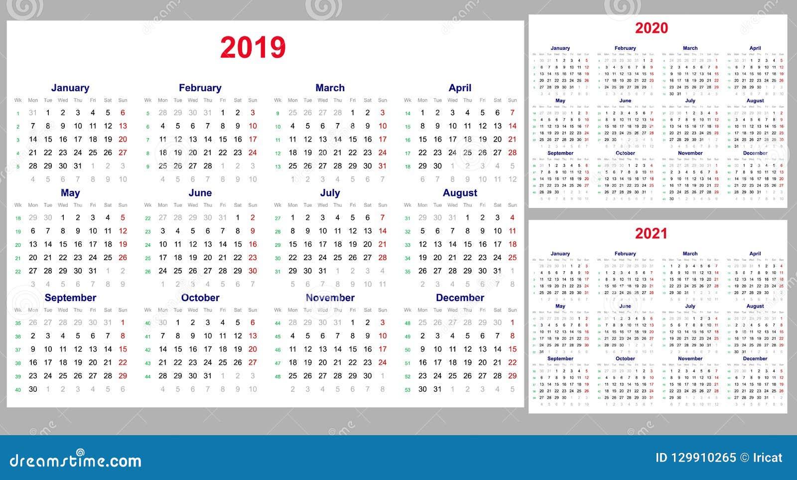 Calendario Por Semanas 2020.Rejilla Del Calendario Por 2019 2020 Y 2021 Anos Fijados El