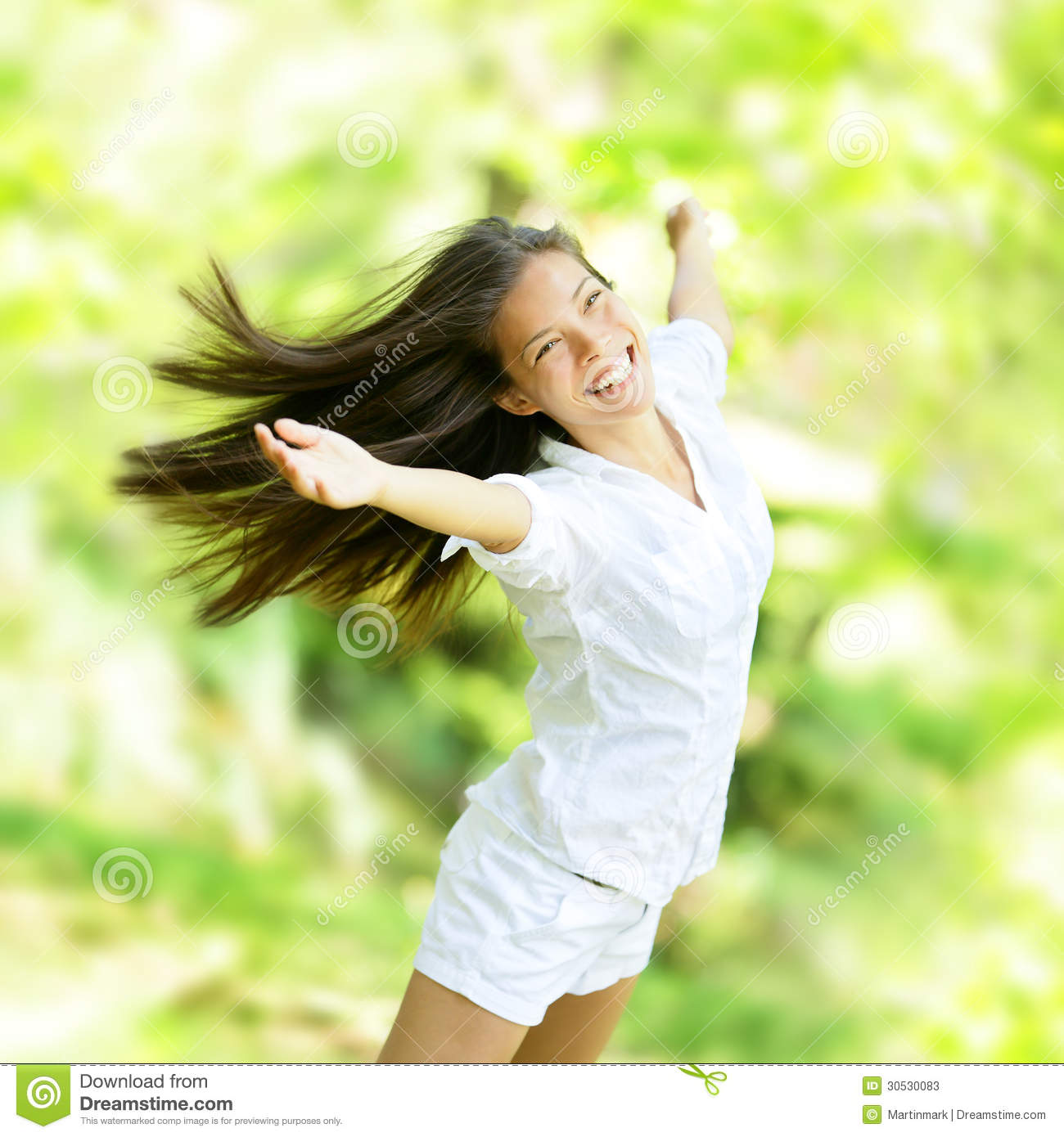 Rejoicing happy woman in flying motion