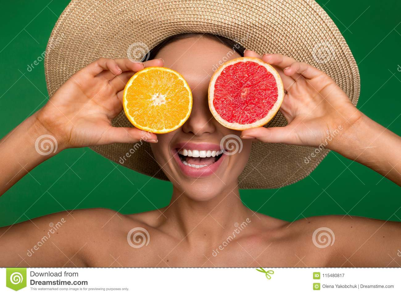 ee2744390d1 Glad Girl With Fruit Instead Of Eyeballs Stock Image - Image of diet ...