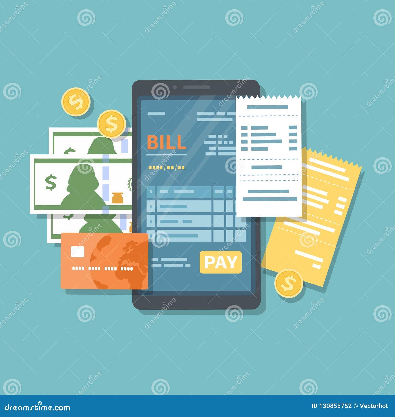 Rekening op het telefoonscherm met loonsknoop Online betaling van goederen, de dienst, nut, bank, restaurant via telefoon Het Ban