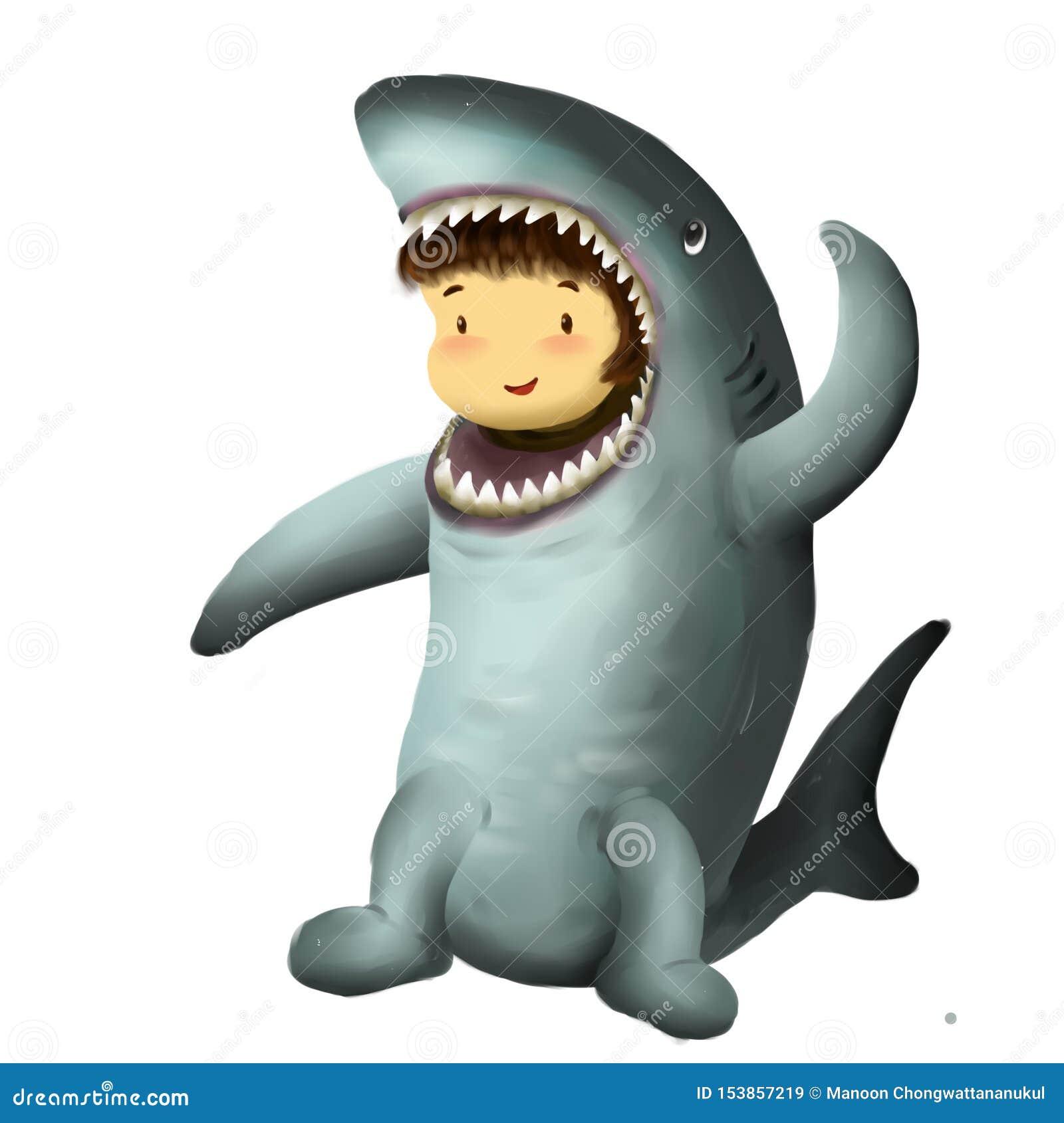 Rekinu dzieciak, dziewczyna ubiera w rekinu kostiumowym falowaniu jeden ręka w powietrzu