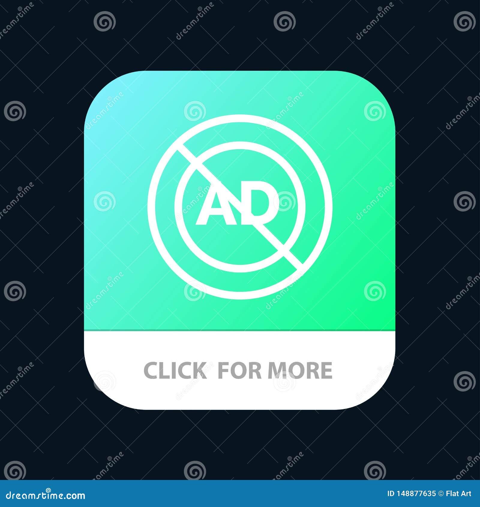 Reklama, reklama blok, reklama, reklama, Blokowy Mobilny App guzik Android i IOS linii wersja