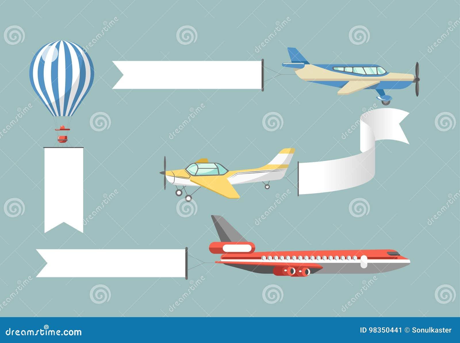 Reklama Czarni Plakaty Dołączali Samoloty Ilustracje