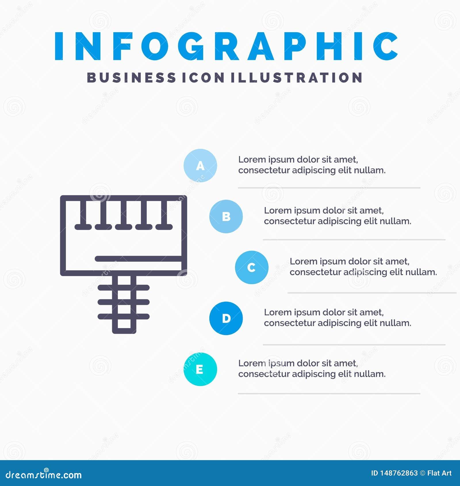 Reklama, reklama, deska, Signboard Kreskowa ikona z 5 kroków prezentacji infographics tłem