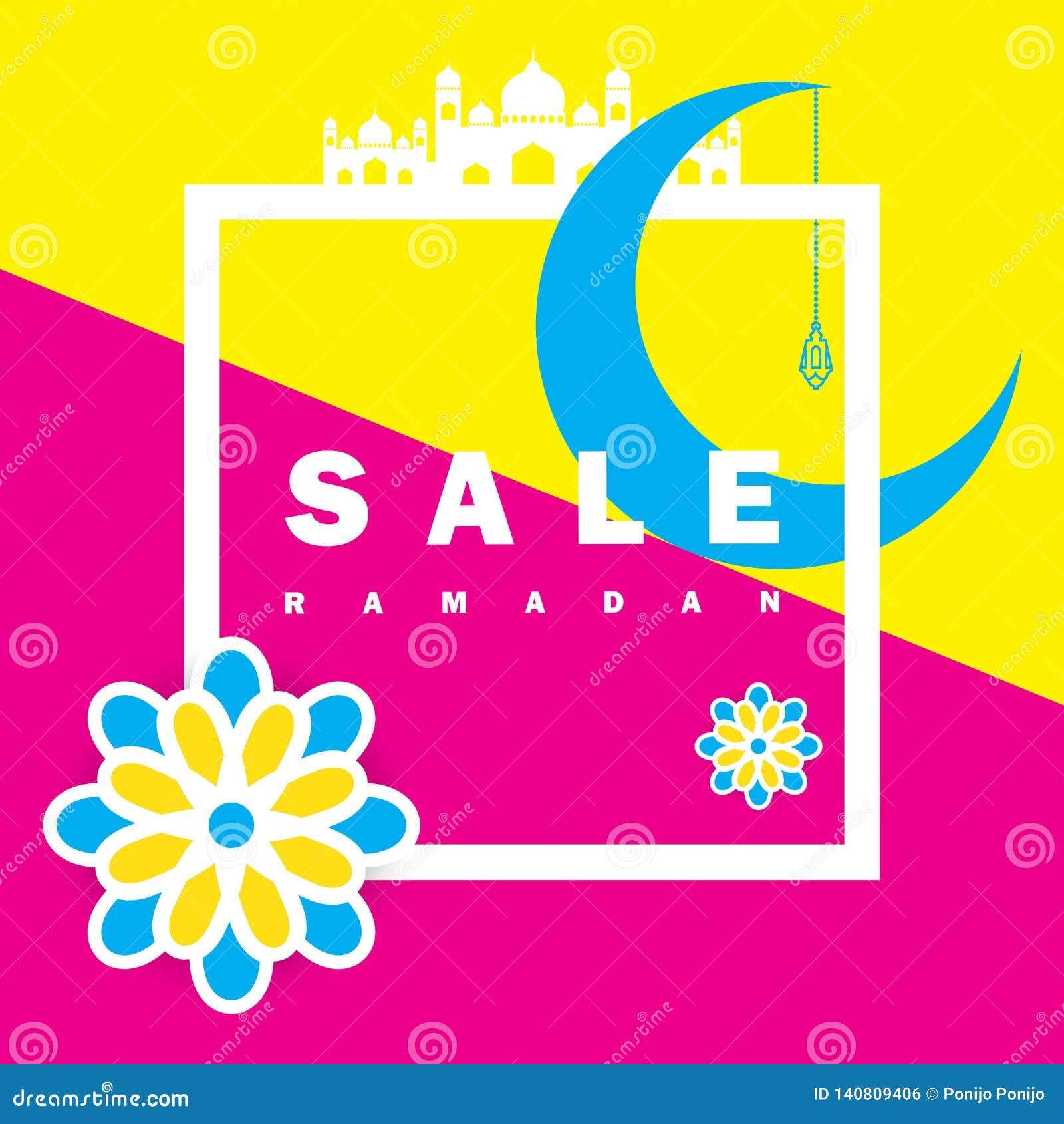 Reklamblad, Sale, rabatt, hälsningkort, etikett eller banertillfälle av Ramadan Kareem och Eid Mubarak Celebration