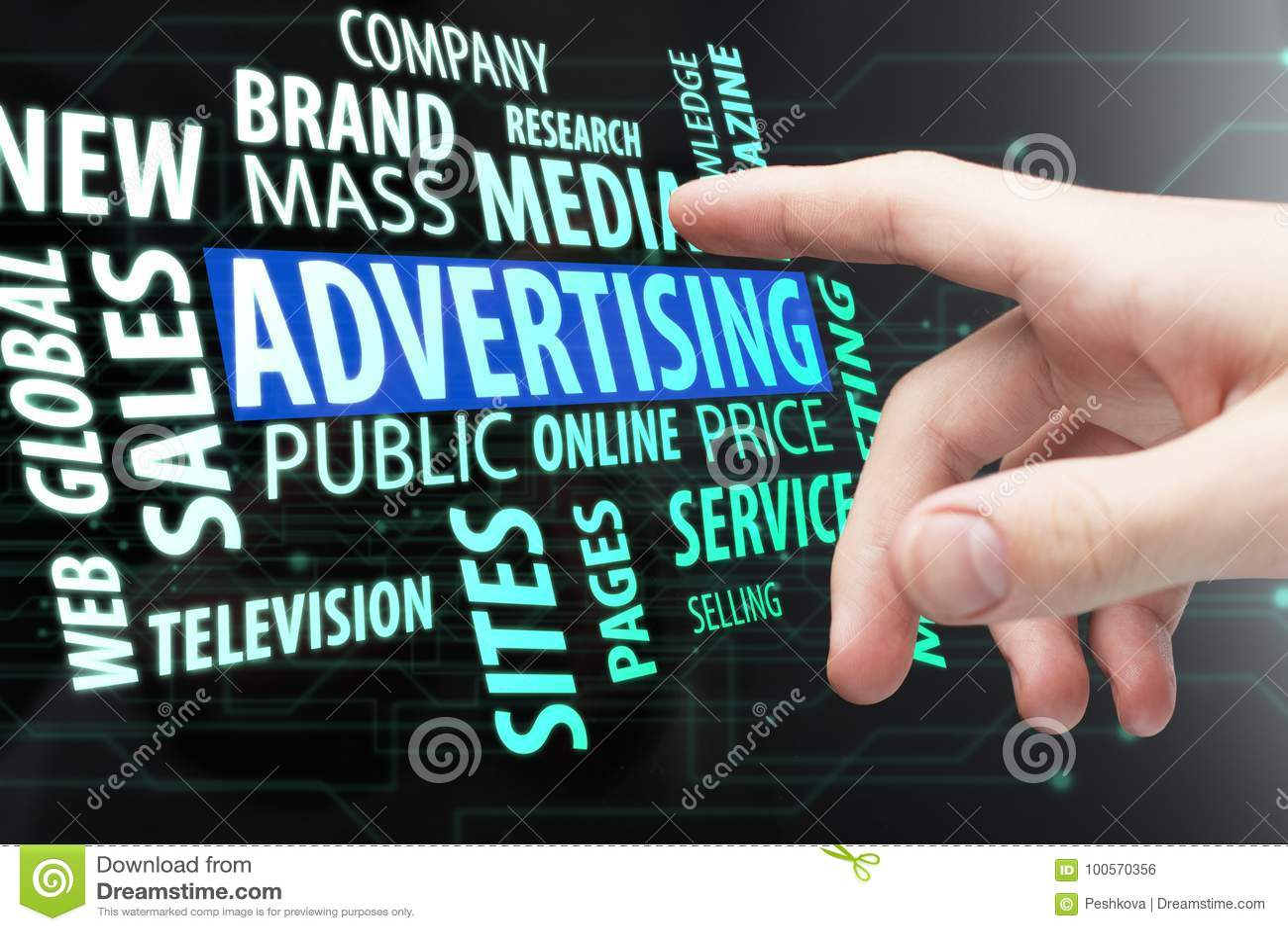 Reklamować, środki i firmy pojęcie,