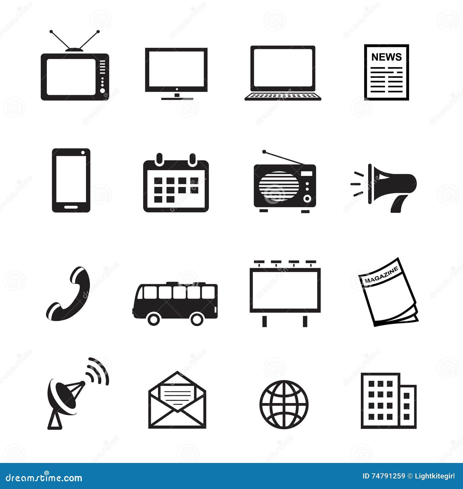 Reklamowych środków sylwetki ikon, marketingu, telewizi, radia i interneta zadowolony wektor,