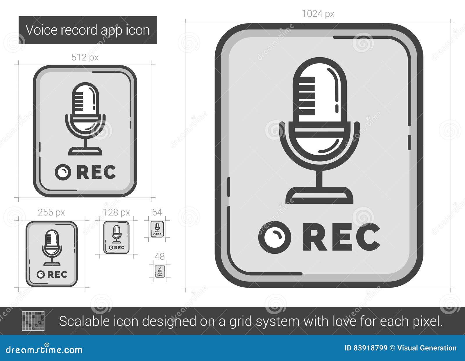 Rekord- app-linje symbol för stämma