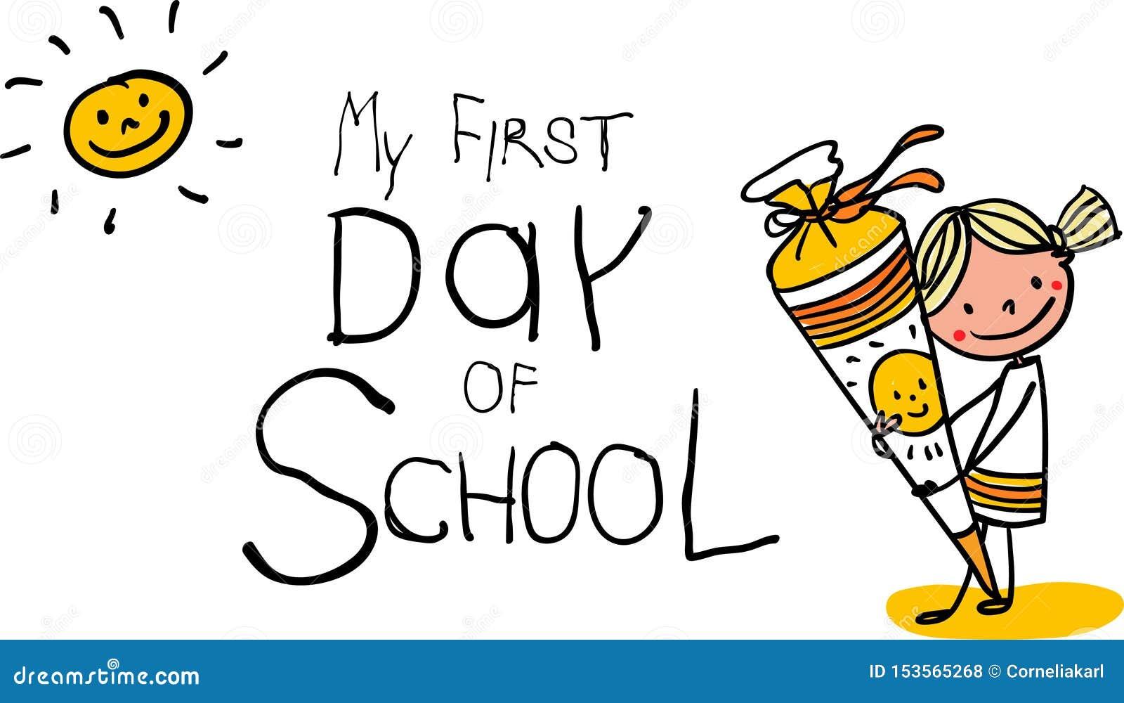 Rekrutacja - Pierwszy dzień szkoła - Pogodna uśmiechnięta uczennica z szkoła rożkiem - kolorowa ręka rysująca kreskówka