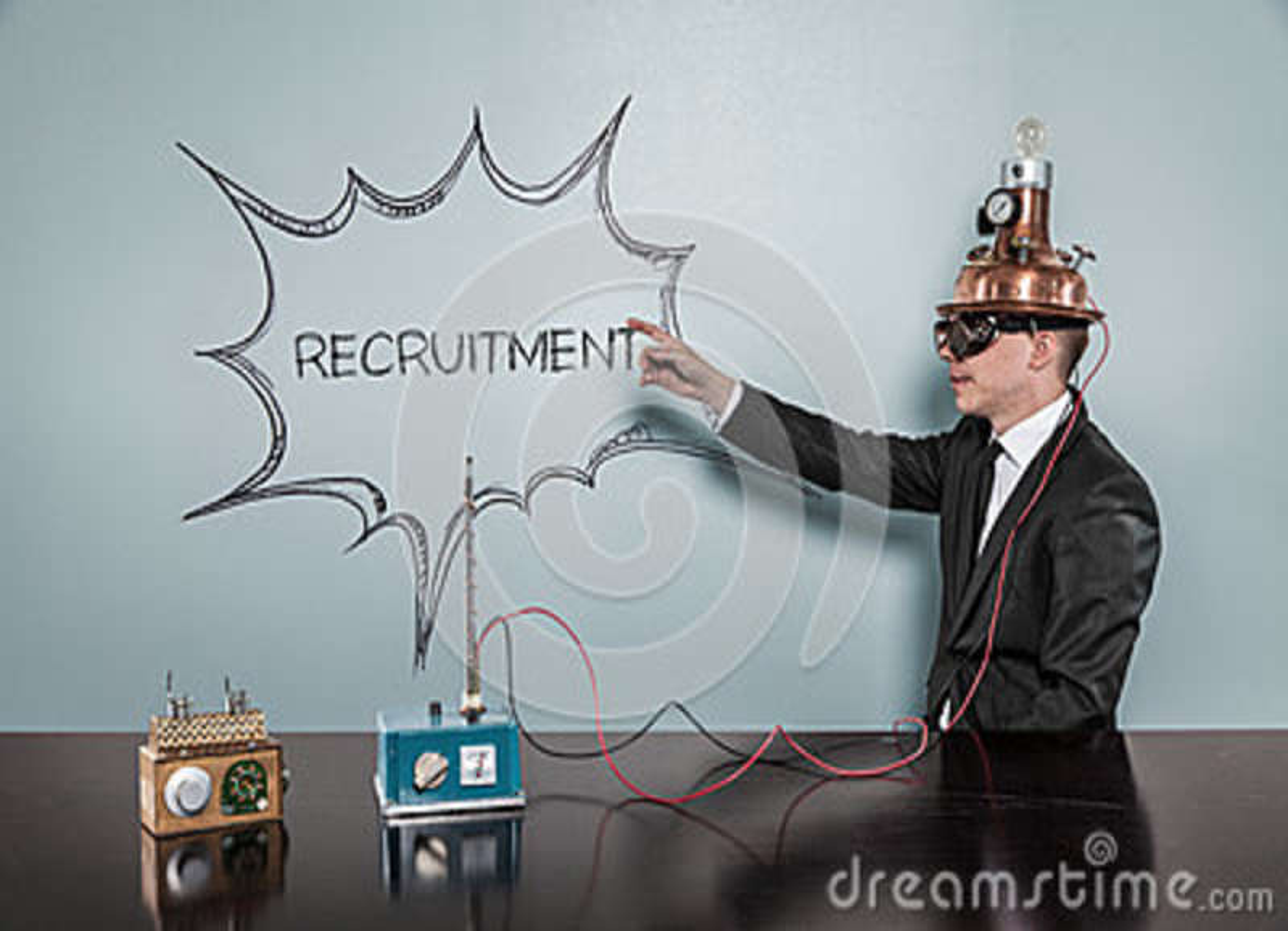 Rekrutacyjny pojęcie z rocznika biznesmenem