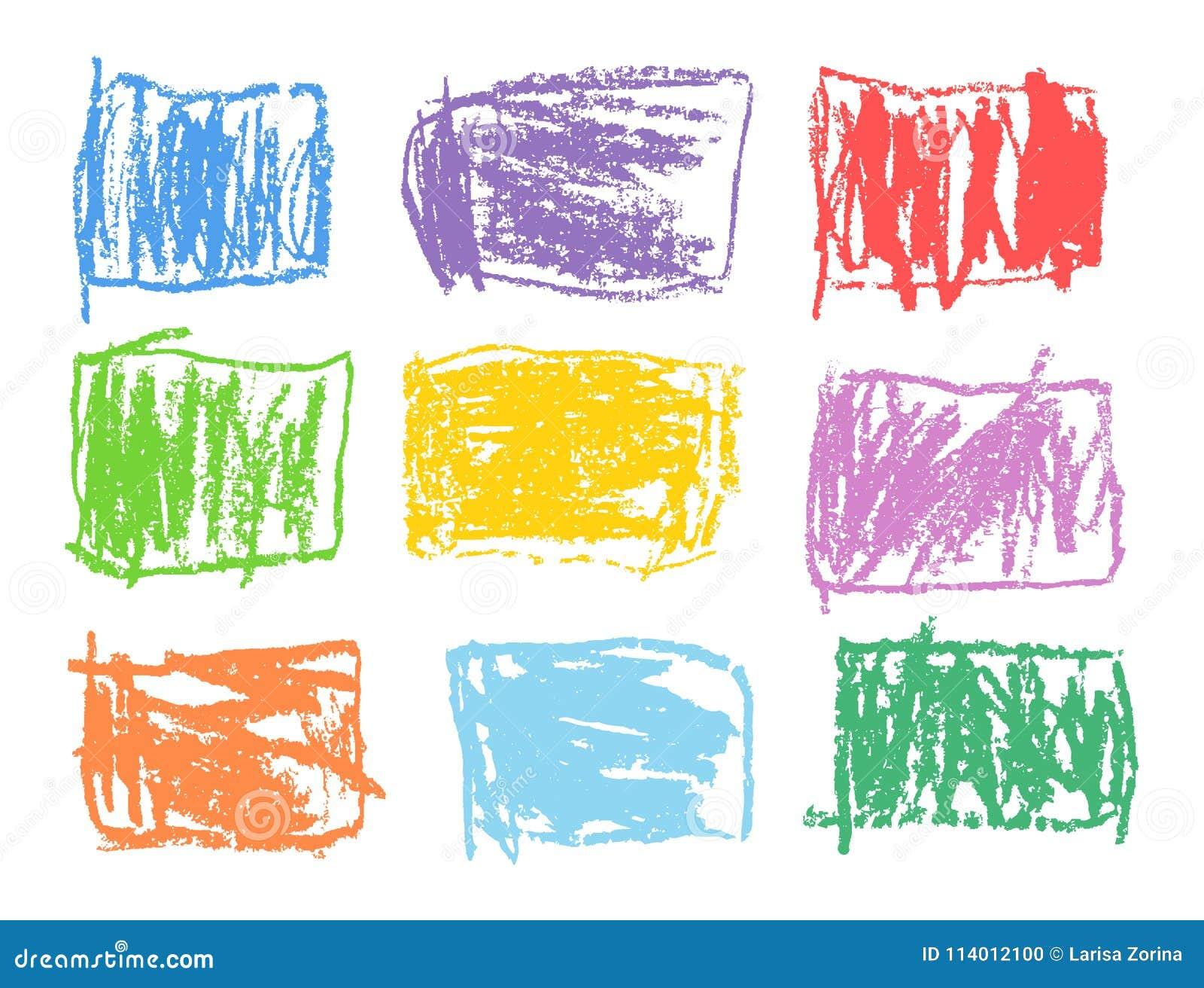 Rektangulär färgrik formuppsättning för färgpenna Som unge` s drog beståndsdelar för design för fyrkant för konstslaglängdabstrak