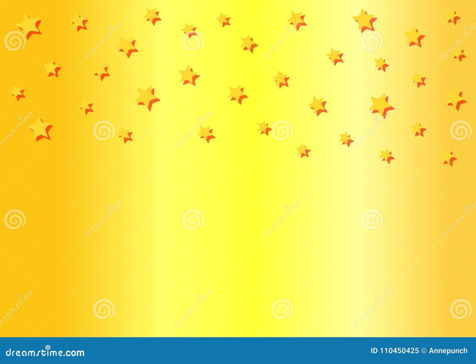 Rektangulär horisontalguld- bakgrund med fallande stjärnor