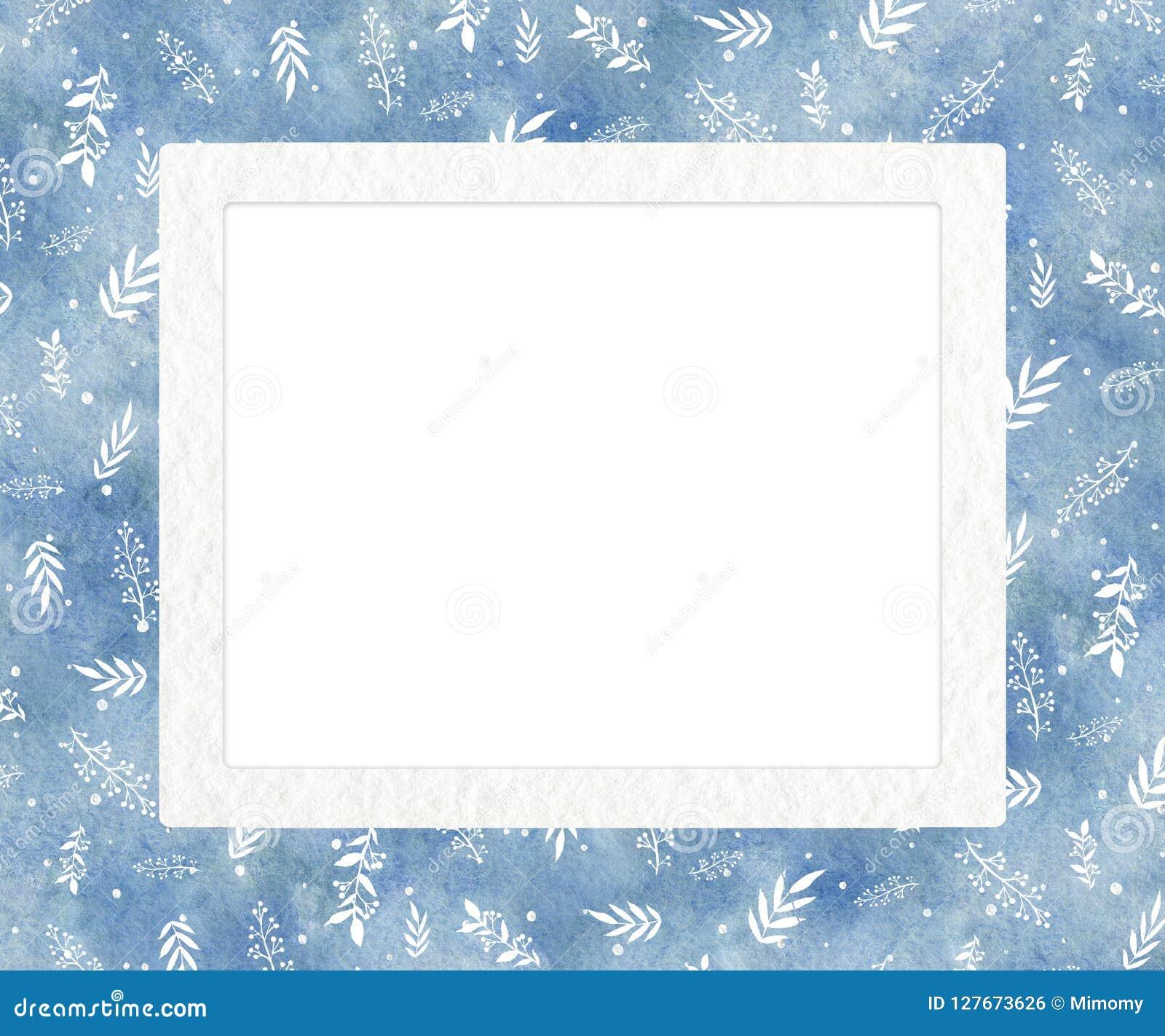 Rektangulär ram för vattenfärg med blå lutningbakgrund, kli