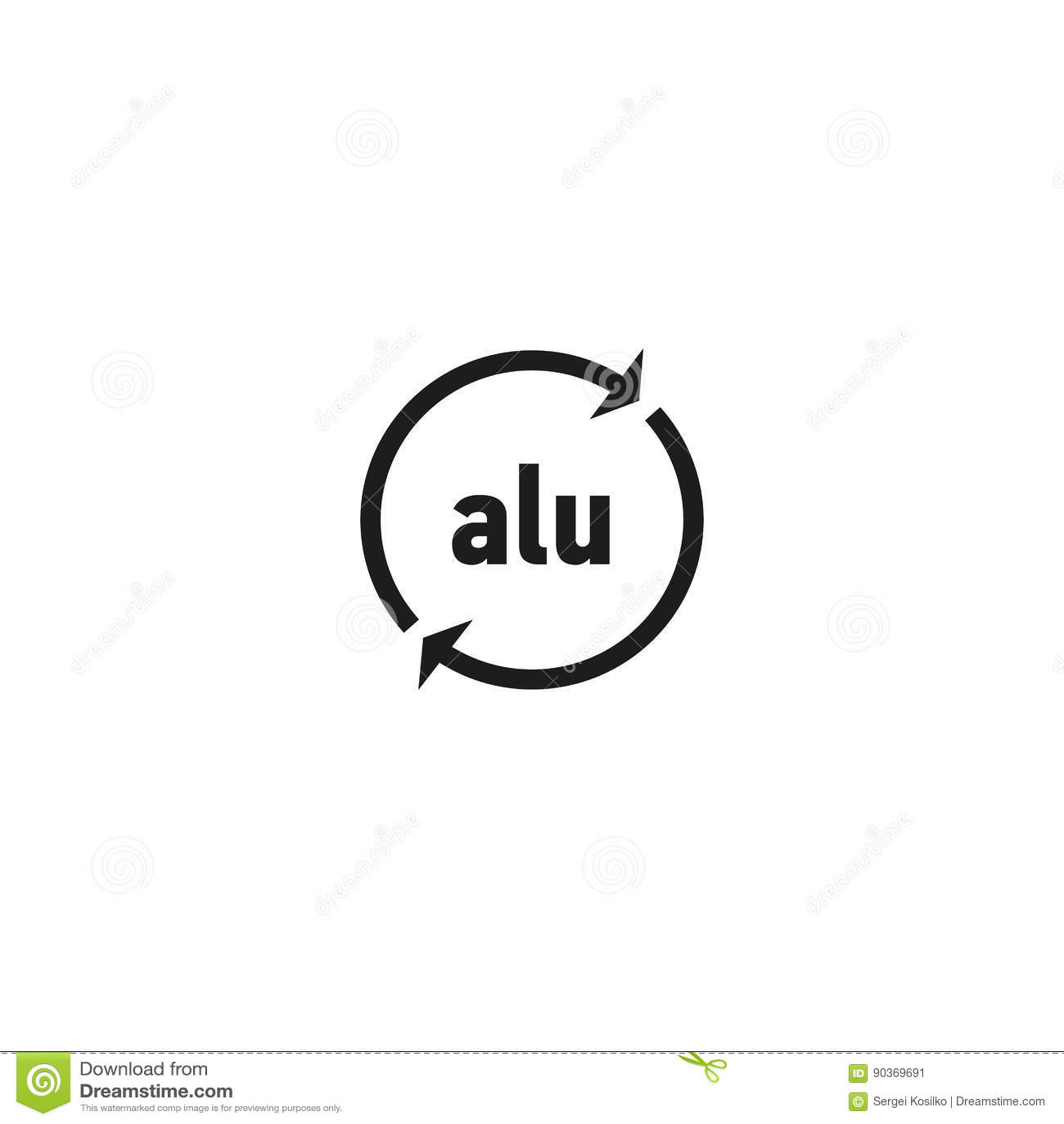 Rekupereerbaar aluminiumsymbool op witte achtergrond