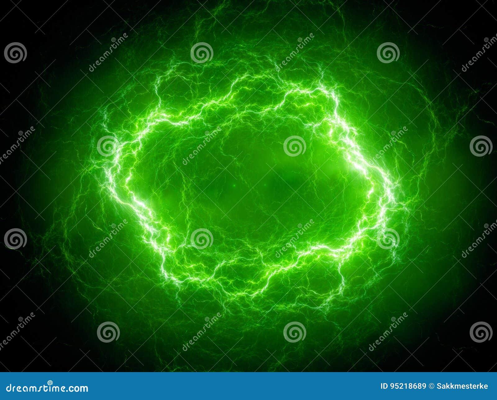 Relâmpago esférico verde do plasma do de alta energia no espaço