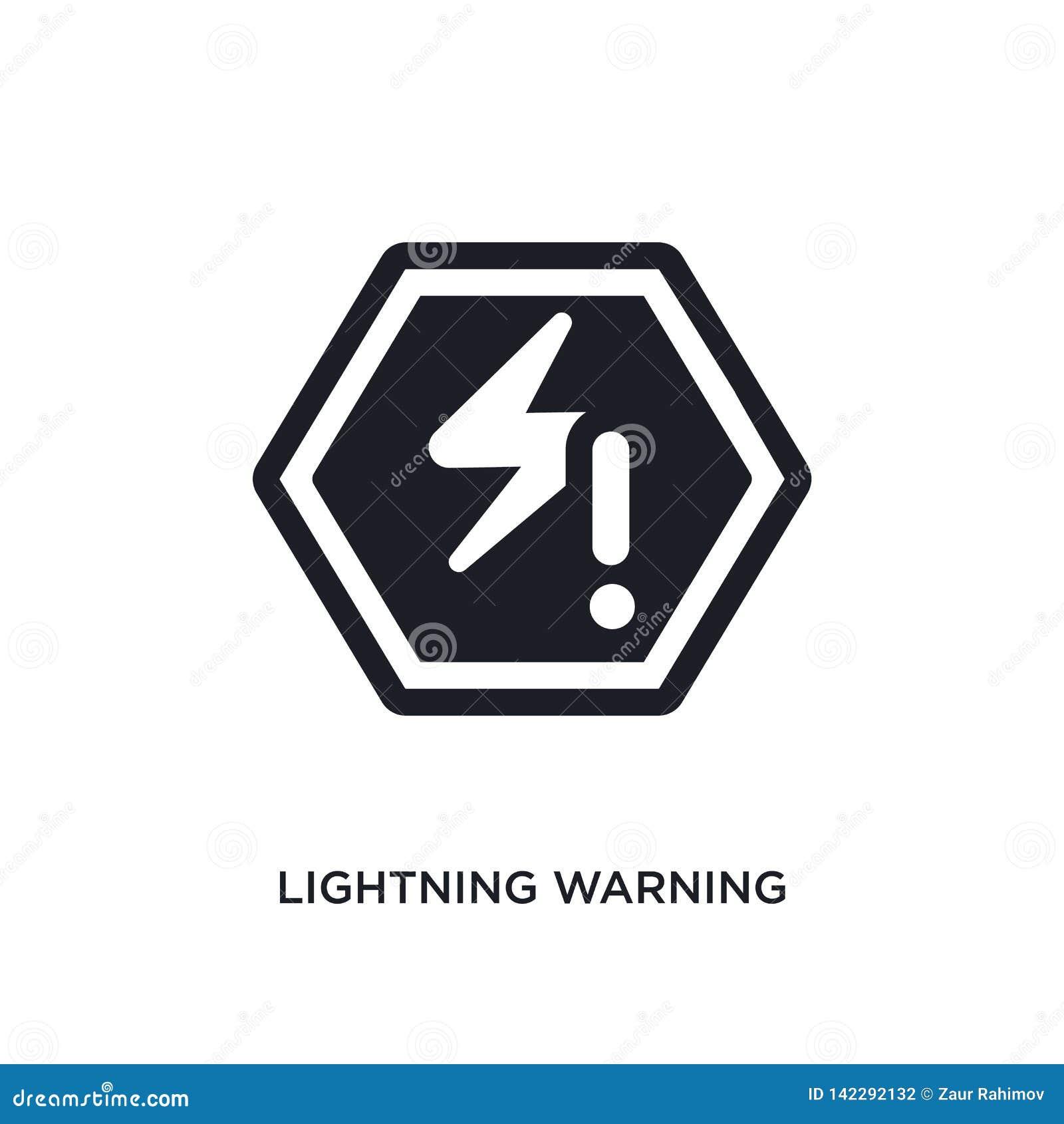 Relâmpago que adverte o ícone isolado ilustração simples do elemento dos ícones do conceito dos sinais relâmpago que adverte o sí