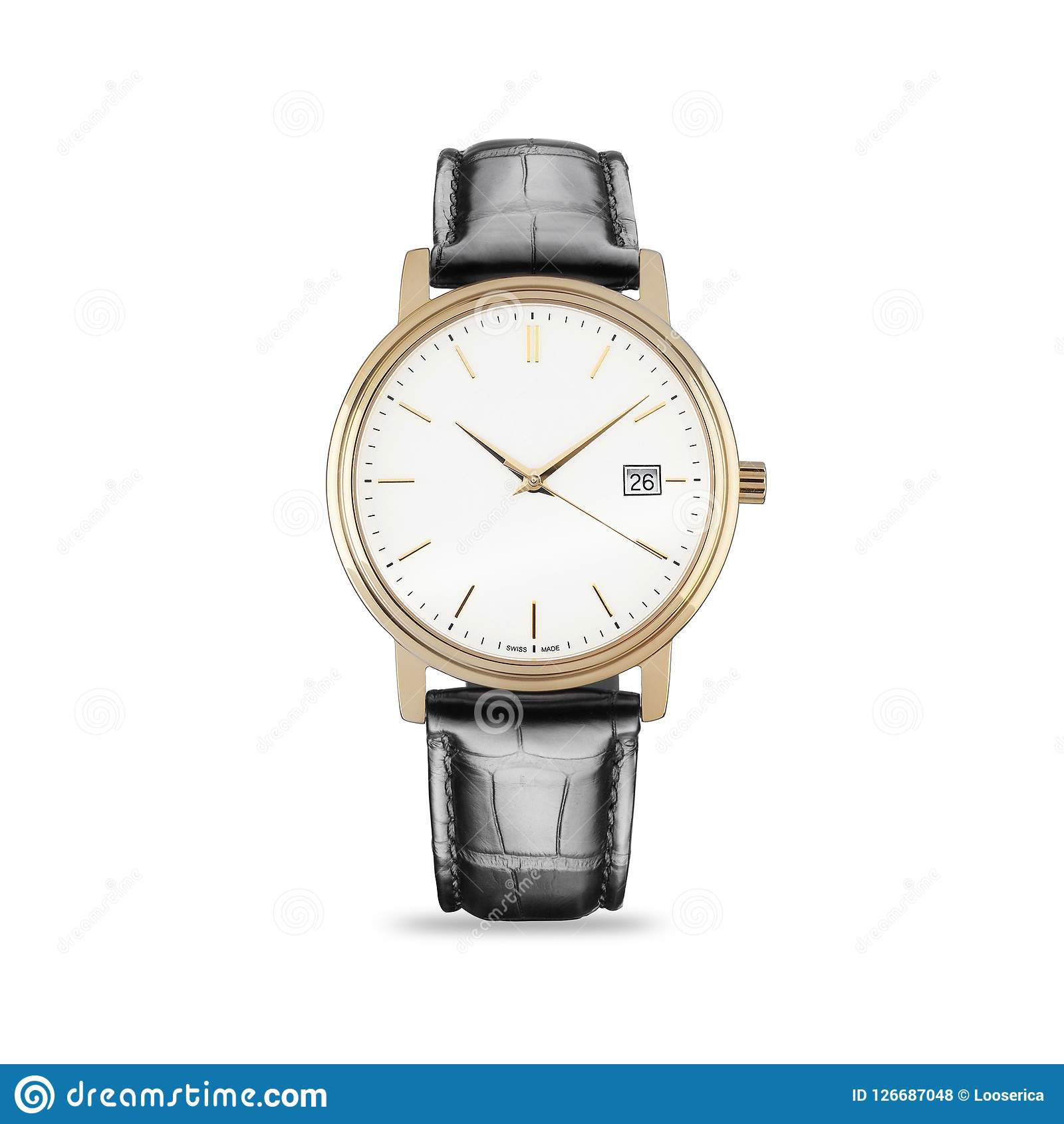 Relógio da mão em um fundo branco