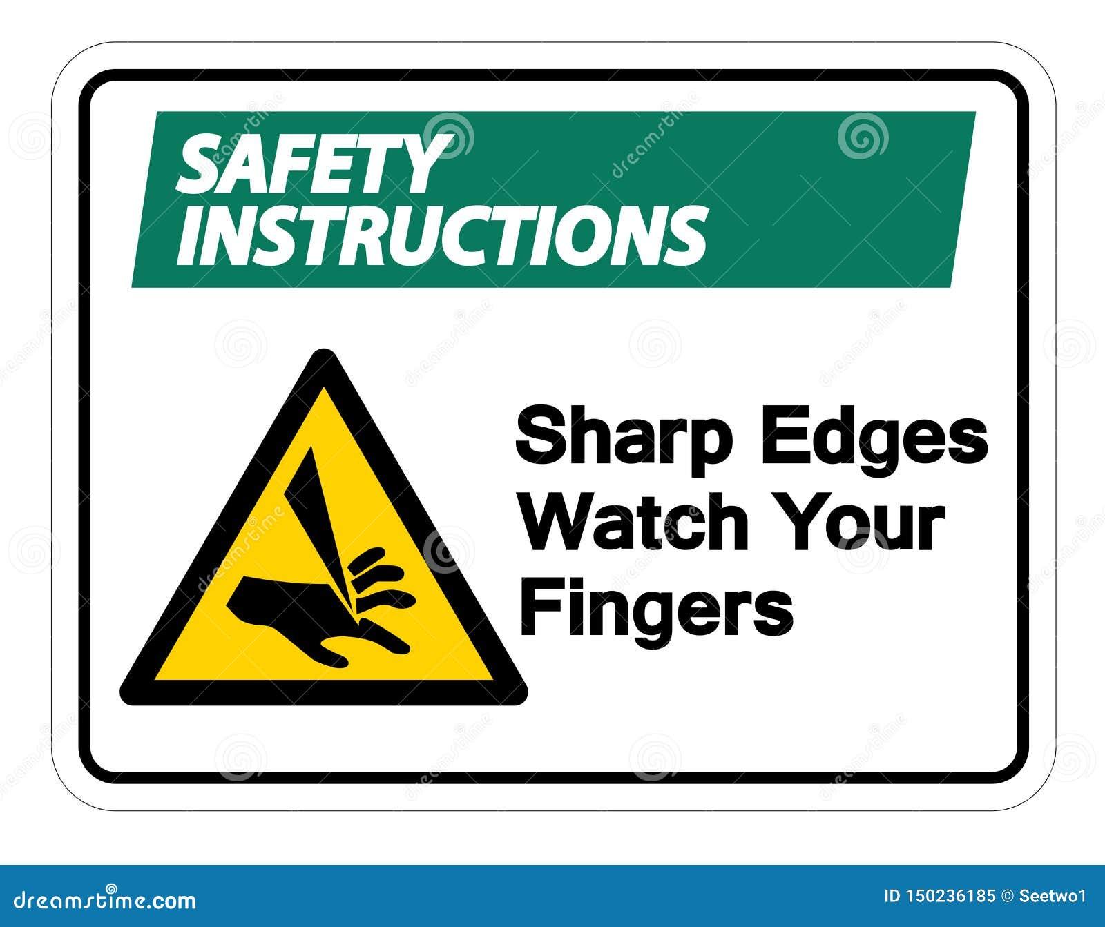 Relógio das bordas afiadas de instruções de segurança seu isolado do sinal do símbolo dos dedos no fundo branco, ilustração do ve