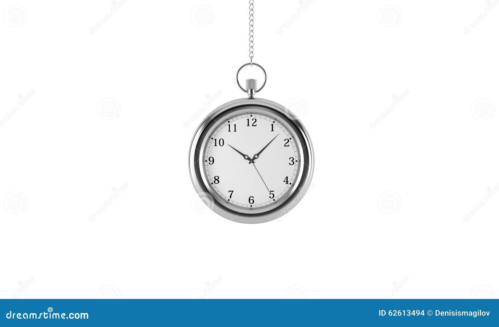 Relógio de bolso de prata Isolado no fundo branco