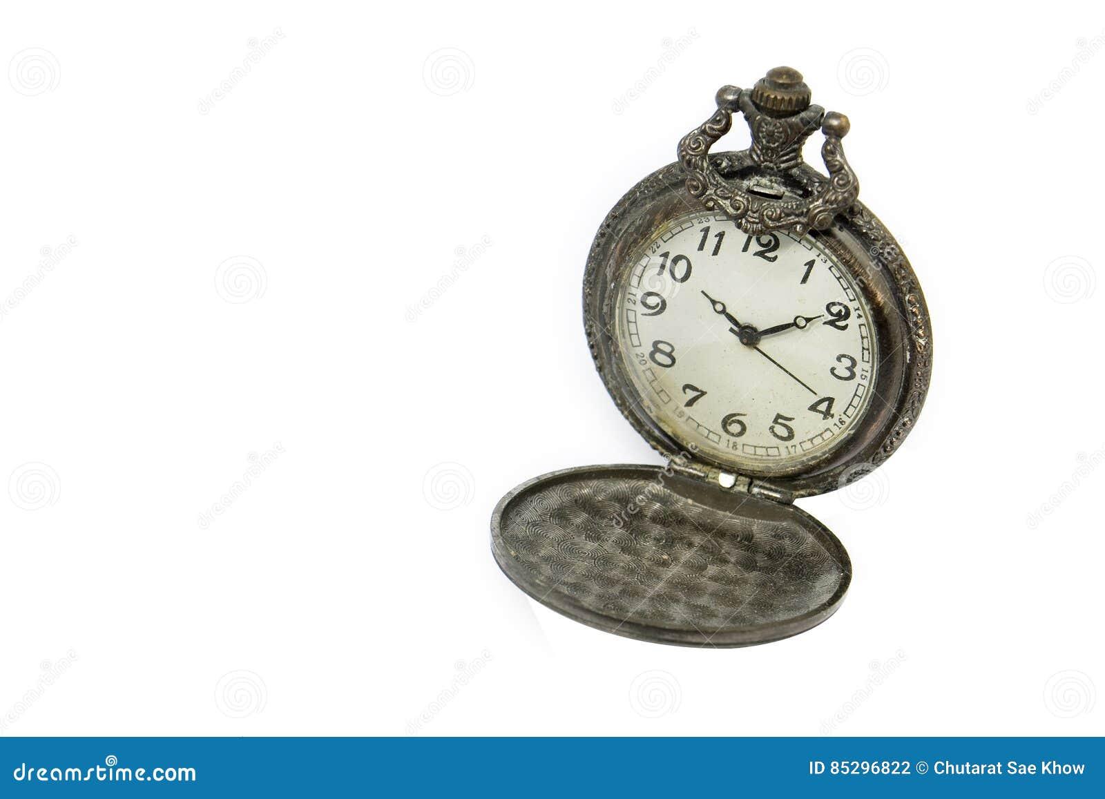 63f6370e6a7 Relógio De Bolso Do Vintage No Fundo Branco Foto de Stock - Imagem ...