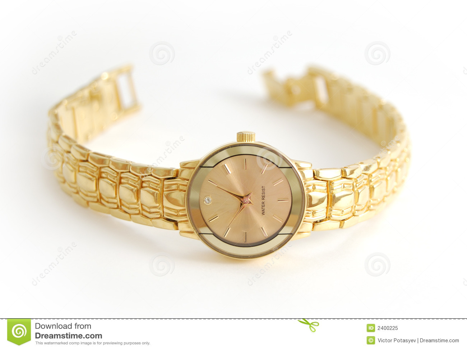 Relógio de pulso fêmea no branco