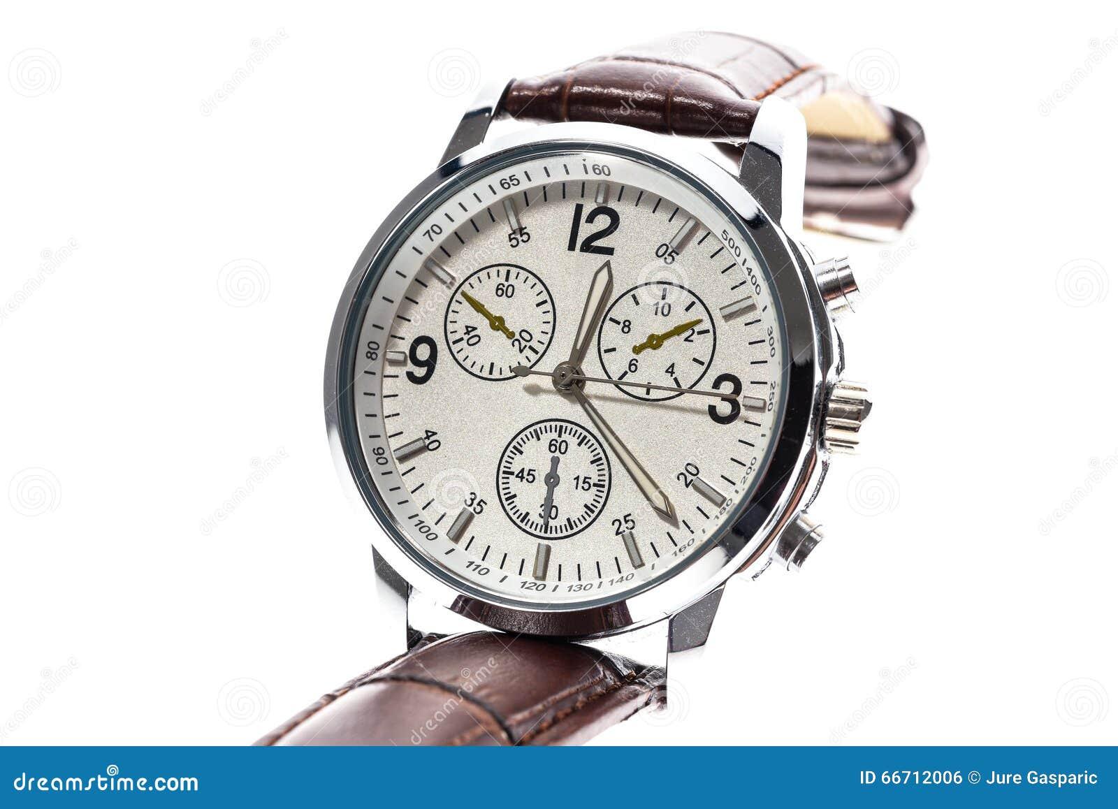 5e7743bc609 Relógio de pulso mecânico suíço redondo luxuoso dos homens com a correia de  couro do punho Cronógrafo ou tacômetro isolado no branco Foto de alta  resolução