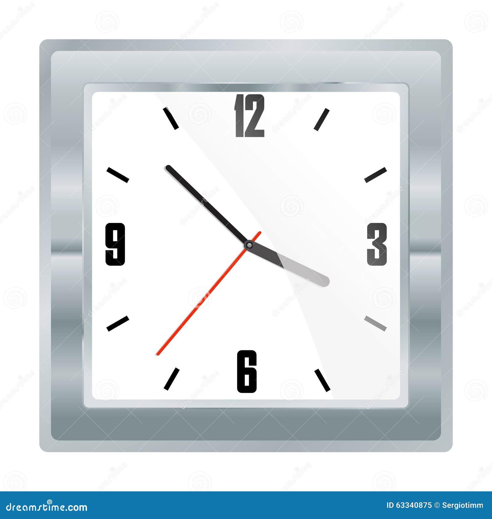 Relógio mecânico quadrado da platina do vetor com um seletor branco e uns dígitos pretos