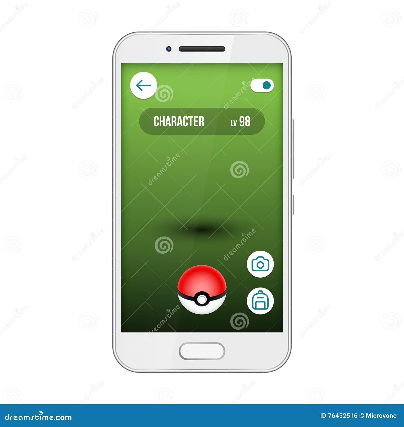 Relação do vetor do smartphone do pokemon da tela do app do jogo Vá, encontre e trave monstro bonitos