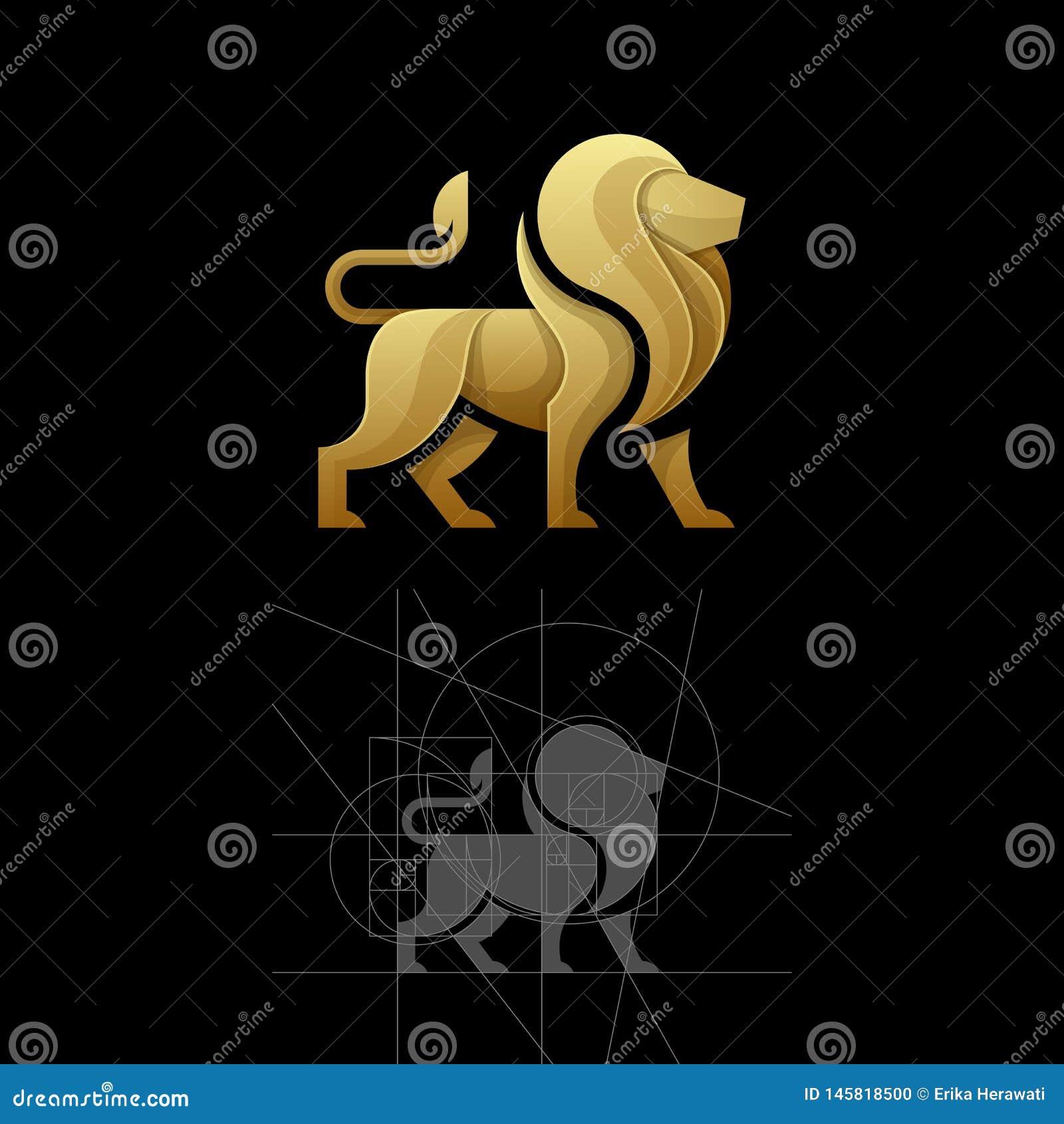 Relação dourada um molde da ilustração do vetor do leão