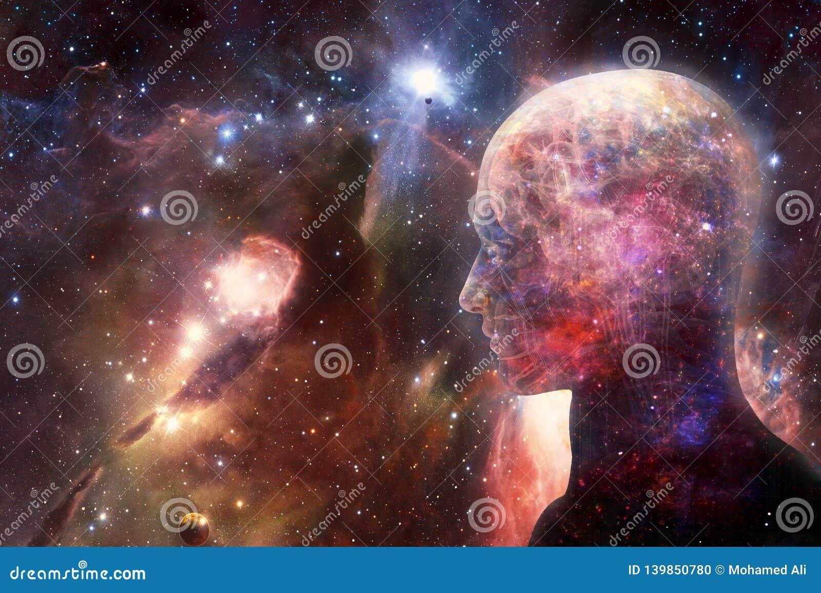 Relação inteligente artificial humana do sumário moderno artístico na arte finala lisa colorido da galáxia da nebulosa