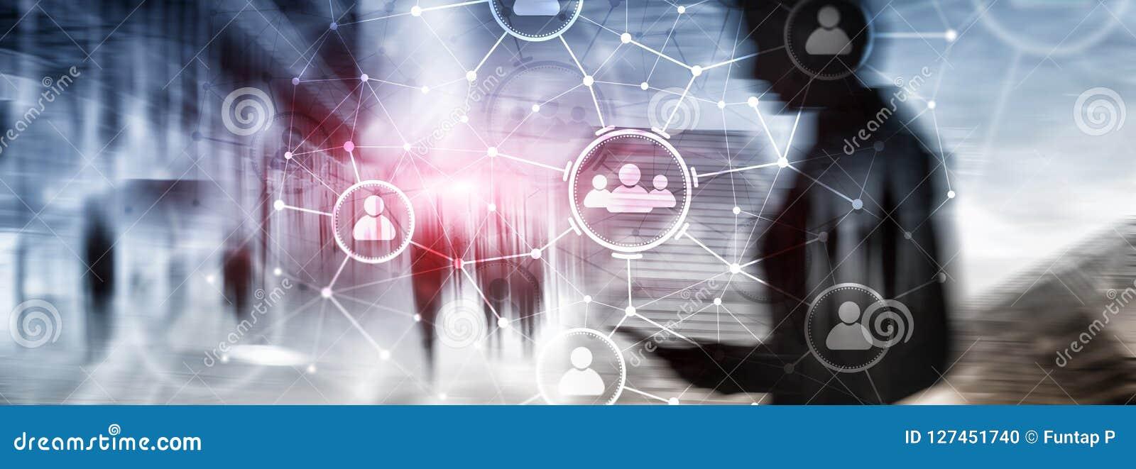 Relación de la gente y estructura de organización Media sociales Concepto de la tecnología del negocio y de comunicación
