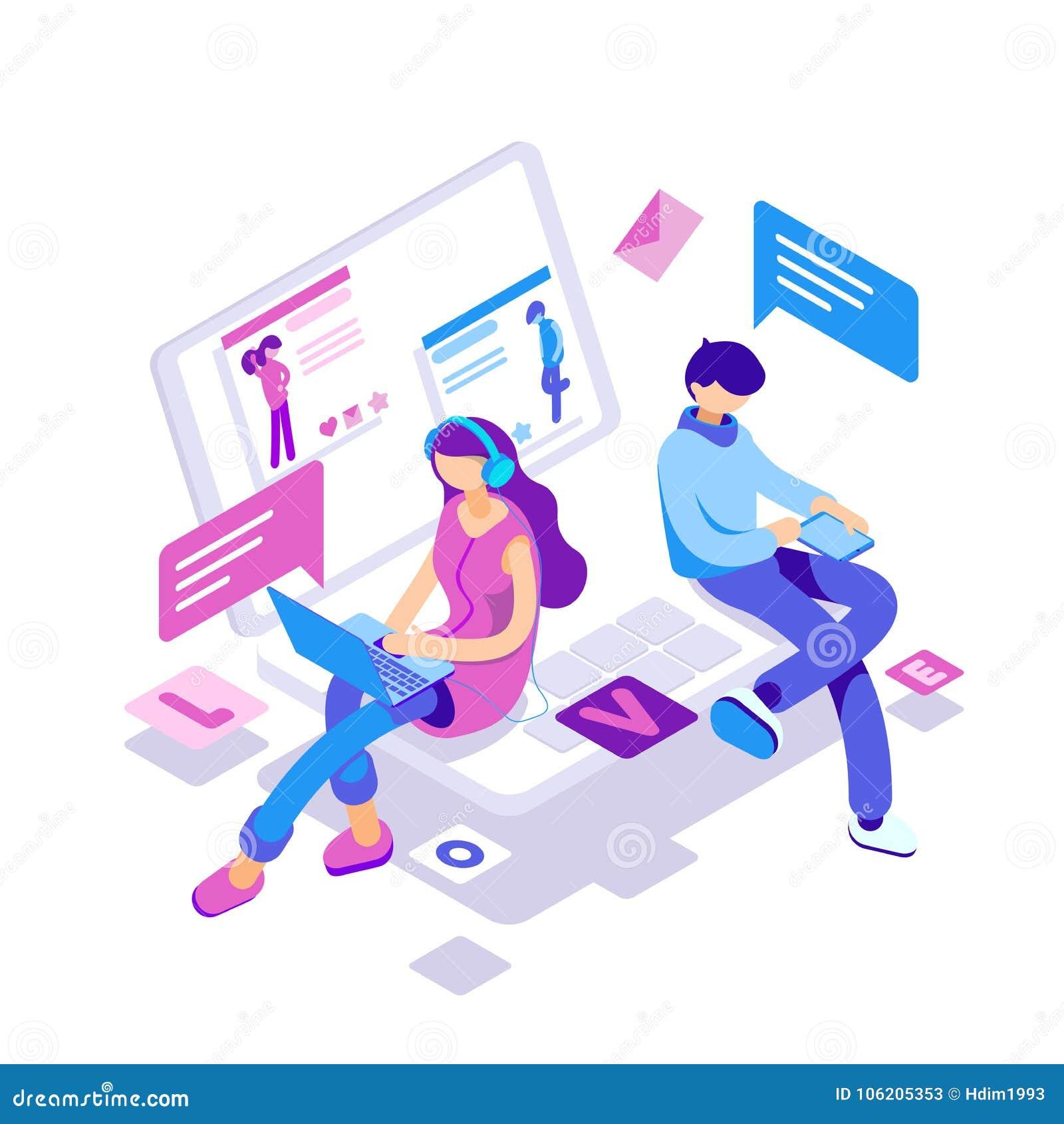 Relacionamentos virtuais, datar em linha e conceito social dos trabalhos em rede - adolescentes que conversam no Internet