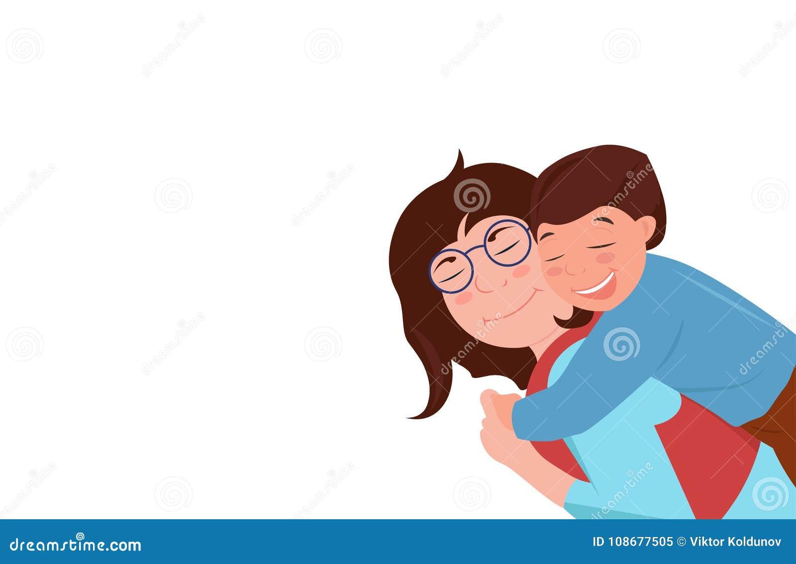 Relaciones de familia caucásicas Madre que abraza a su hijo Están riendo