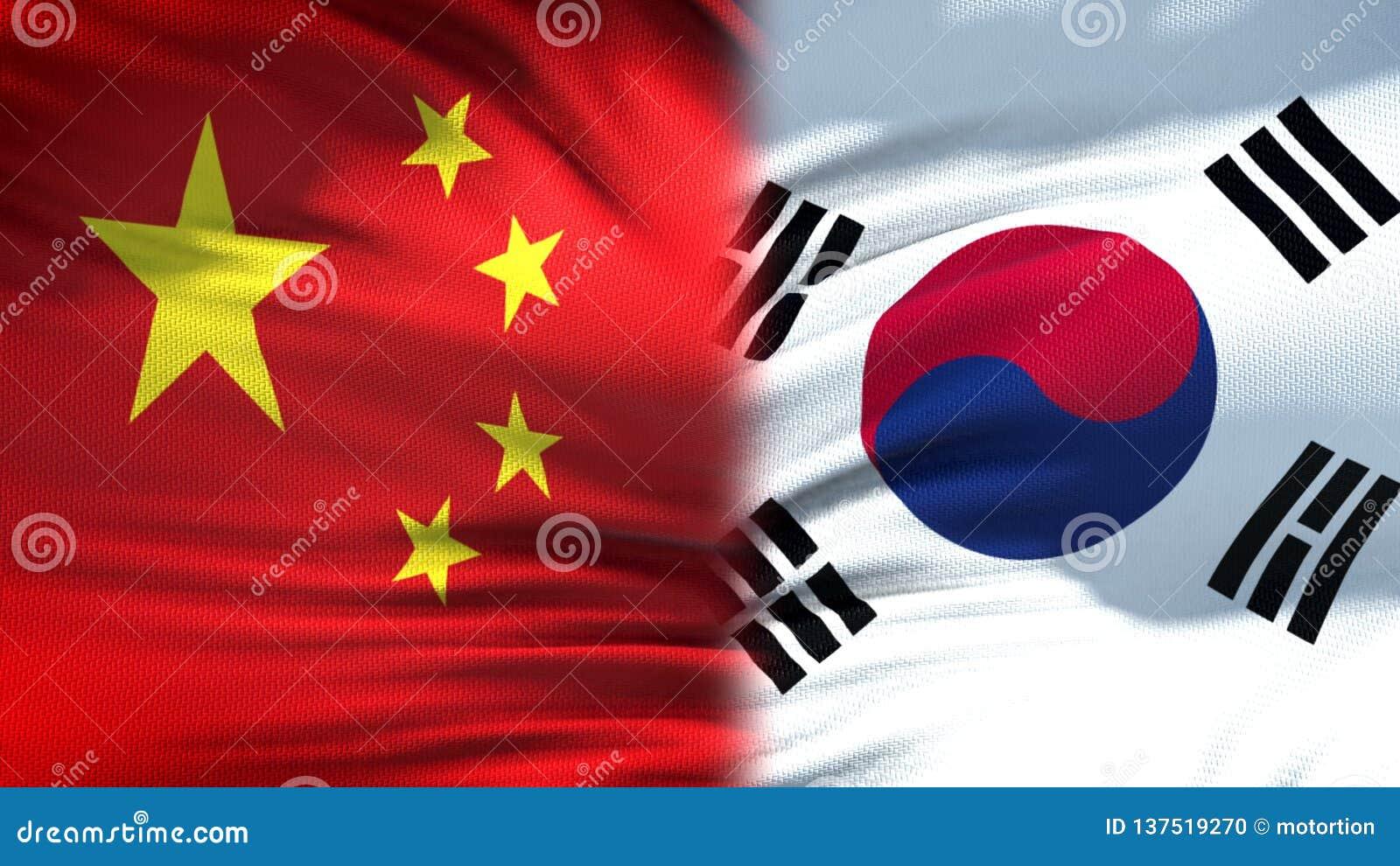 Relaciones del fondo de las banderas de China y de la Corea del Sur, diplomáticas y económicas