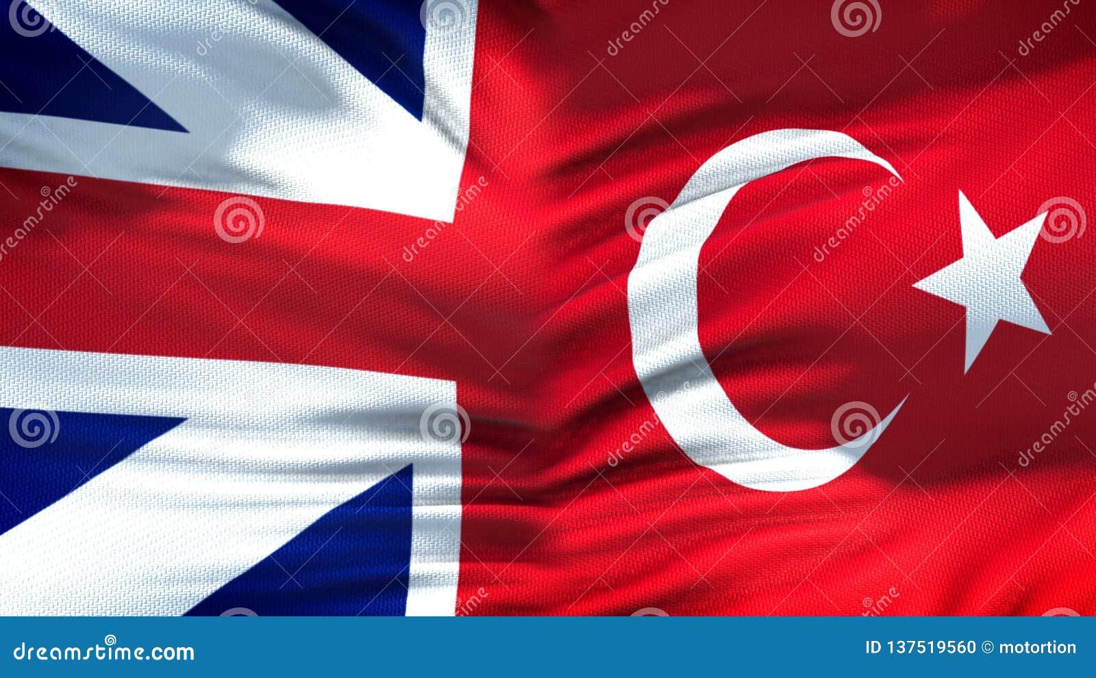 Relaciones del fondo de las banderas de Gran Bretaña y de Turquía, diplomáticas y económicas