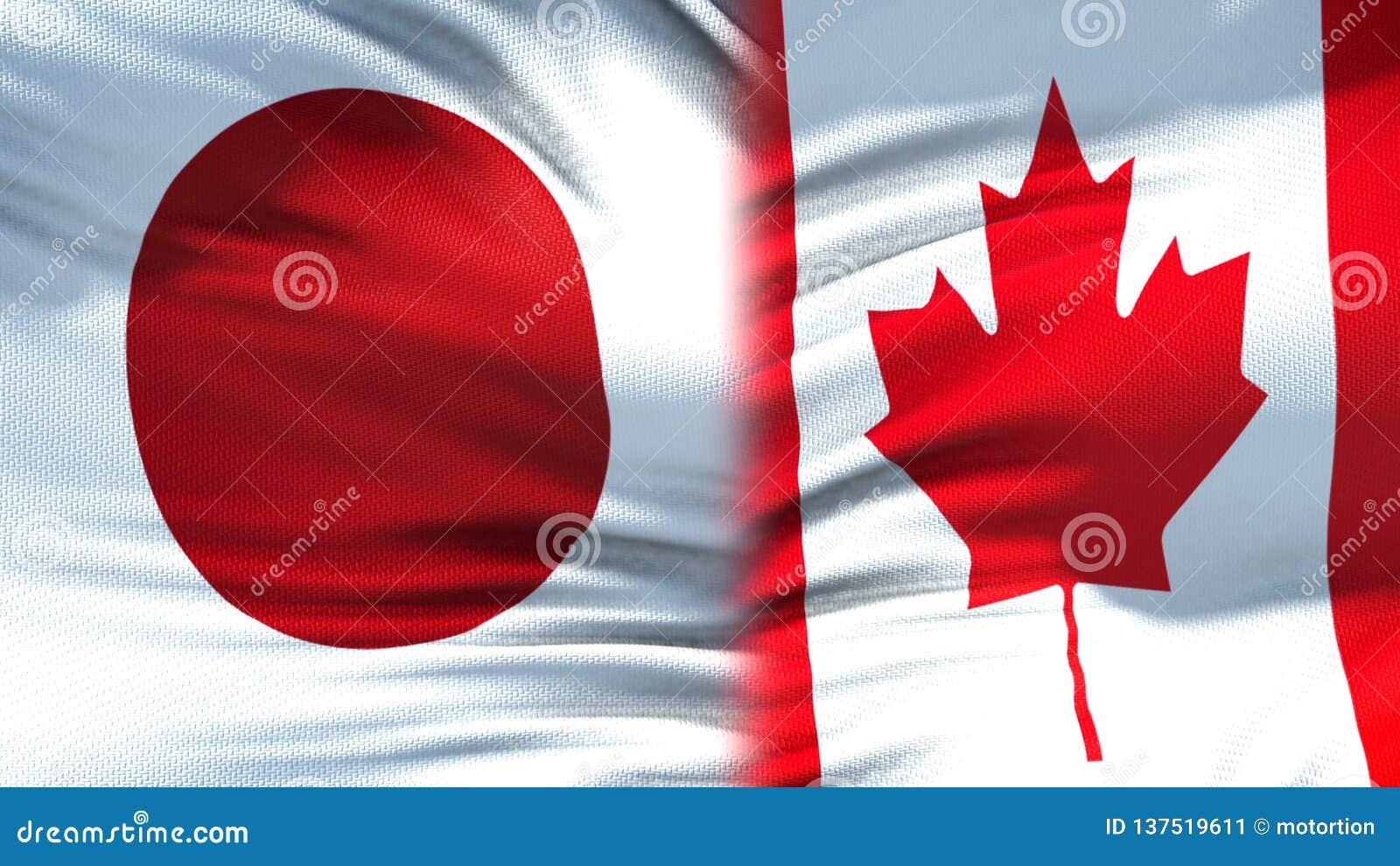 Relaciones del fondo de las banderas de Japón y de Canadá, diplomáticas y económicas, comercio