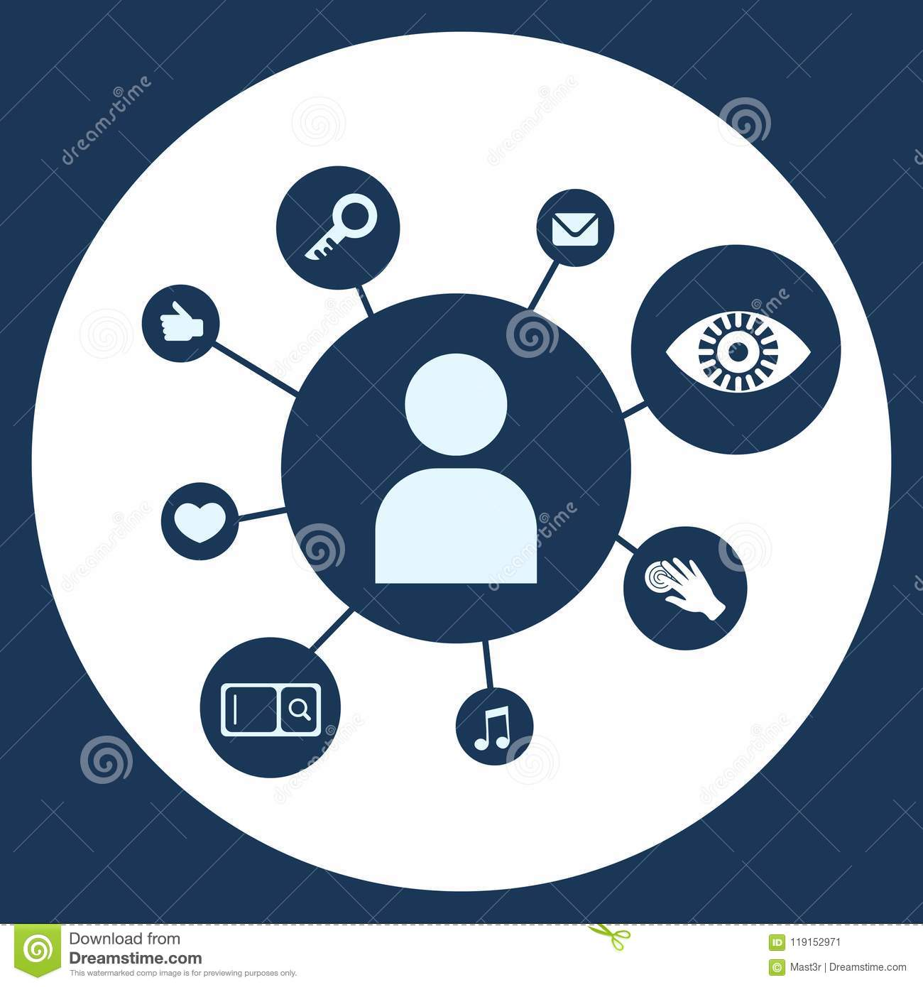 Relation Diagram Diversity Icon On White Circle Background Security And Protection General Data