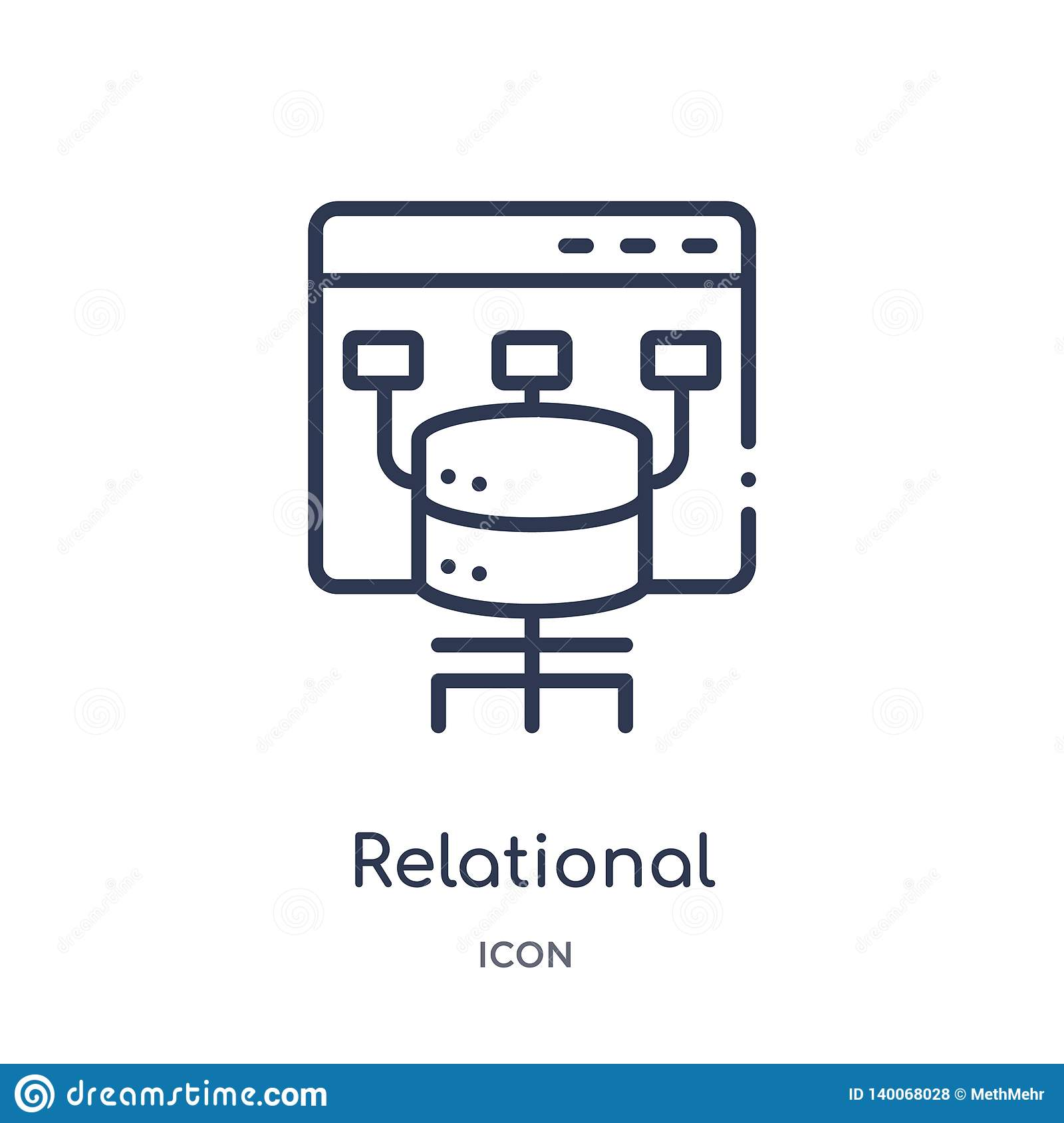 relational database management system icon from technology outline collection. Thin line relational database management system
