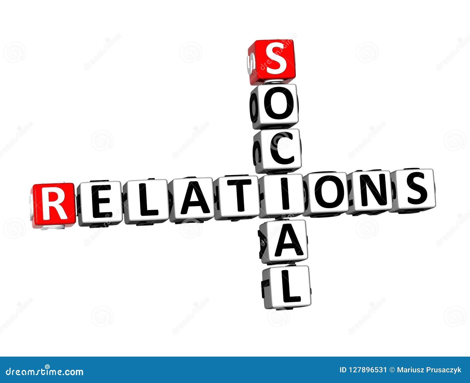 Relations sociales Word de mots croisé du rendu 3D au-dessus de Backgrou blanc
