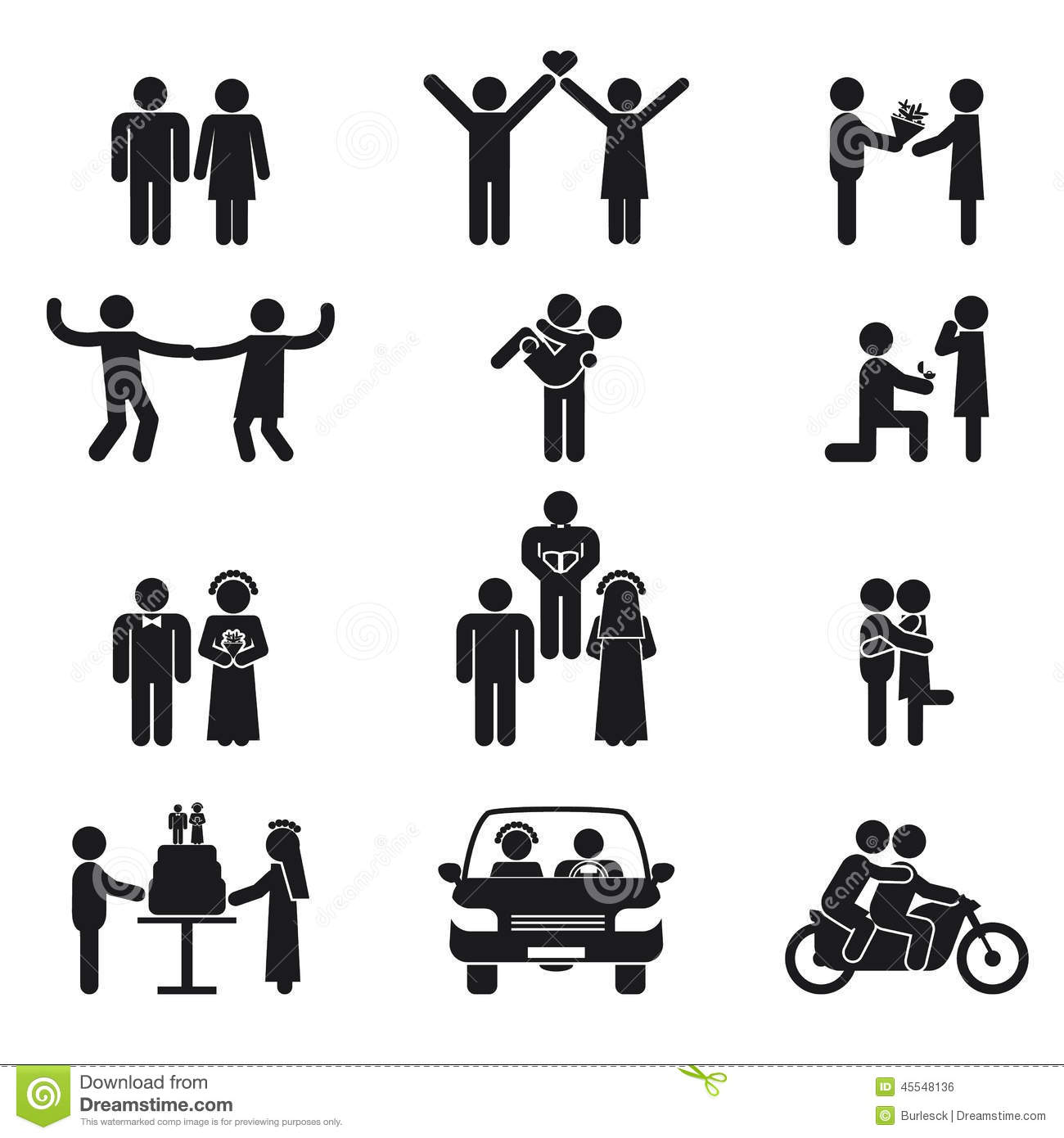Relationship And Wedding People Icon Set Stock Vector Illustration