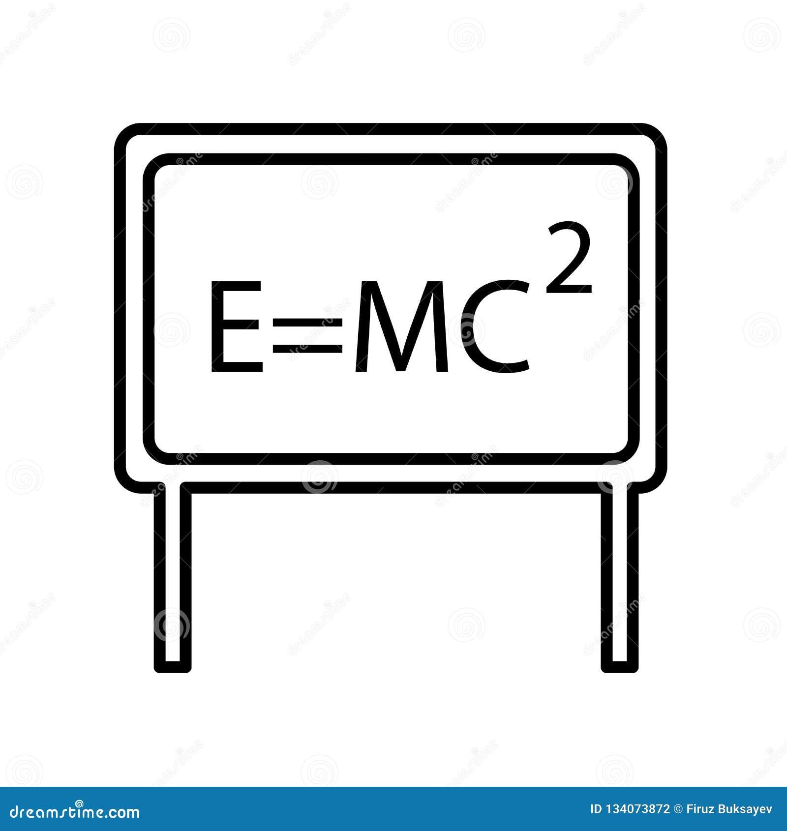 Relativitätsikonenvektor lokalisiert auf weißem Hintergrund, Relativitätszeichen, Zeichen und Symbolen in der dünnen linearen Ent