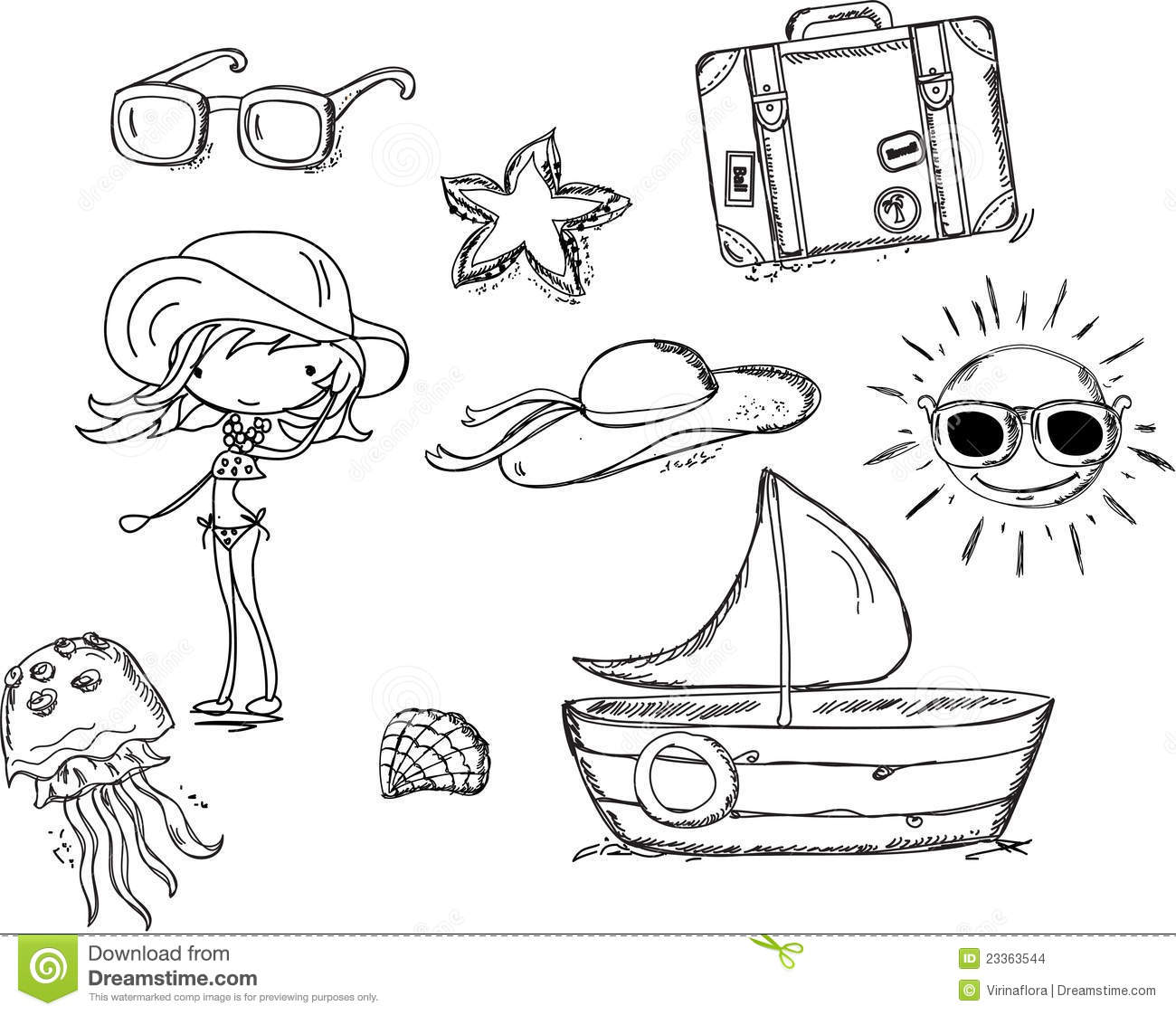 Relax On The Beach Doodle Vector Stock Images Image
