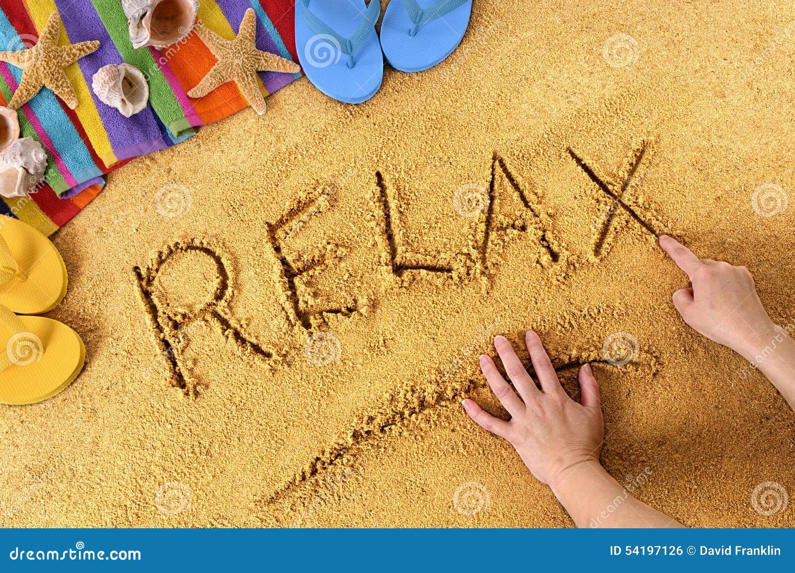 relax beach writing stock photo image of break above 54197126