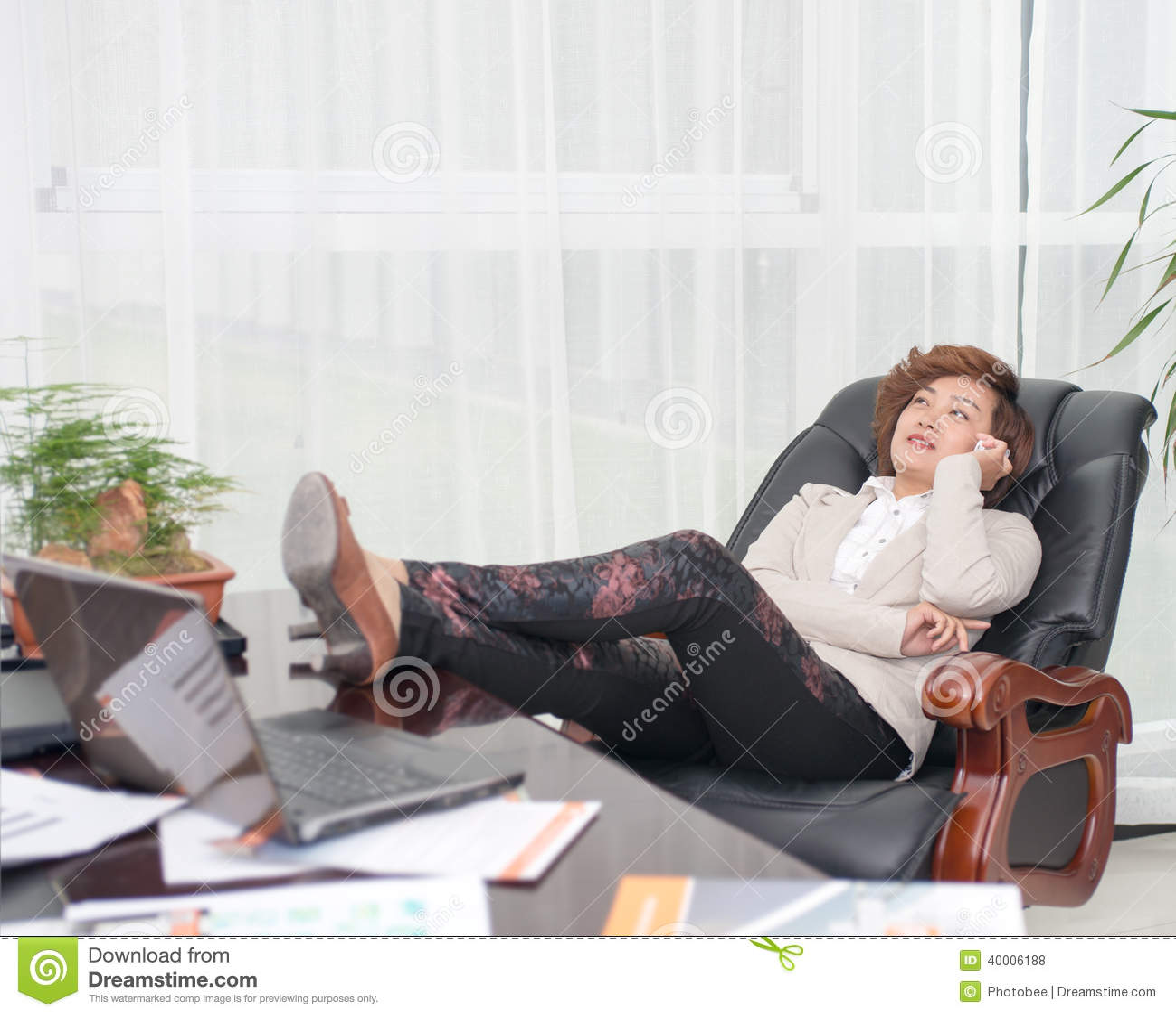 Relax Female Boss Stock Photo Image 40006188