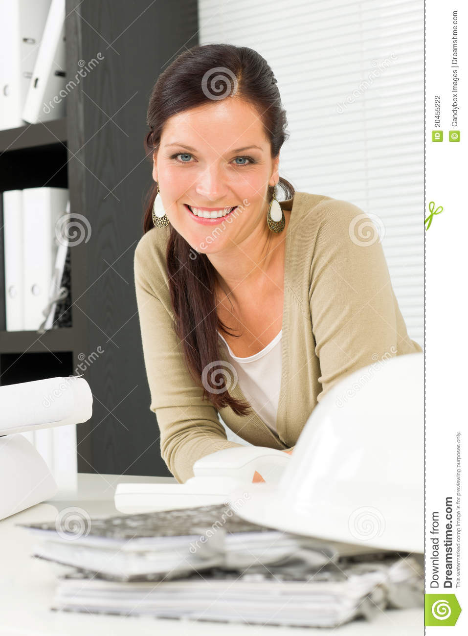 Relax professional architect woman smiling stock photo for Professional architect
