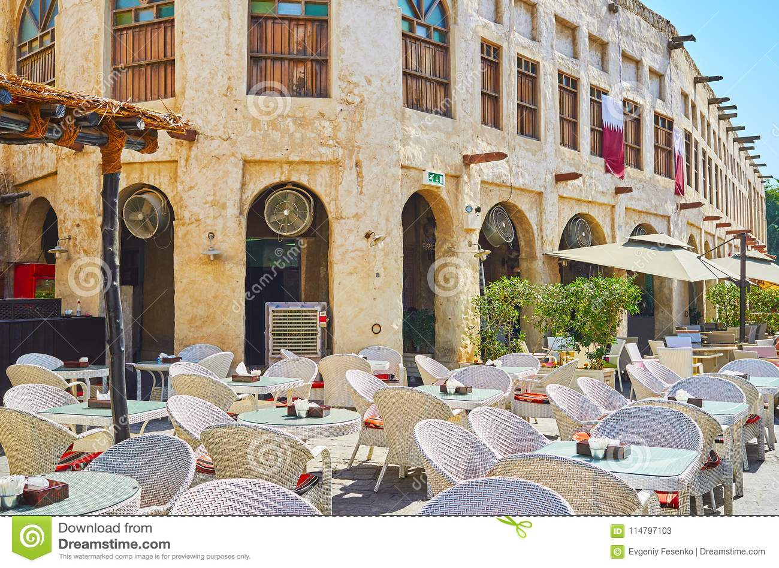Relax In Restaurants Of Souq Waqif, Doha, Qatar Stock Image - Image
