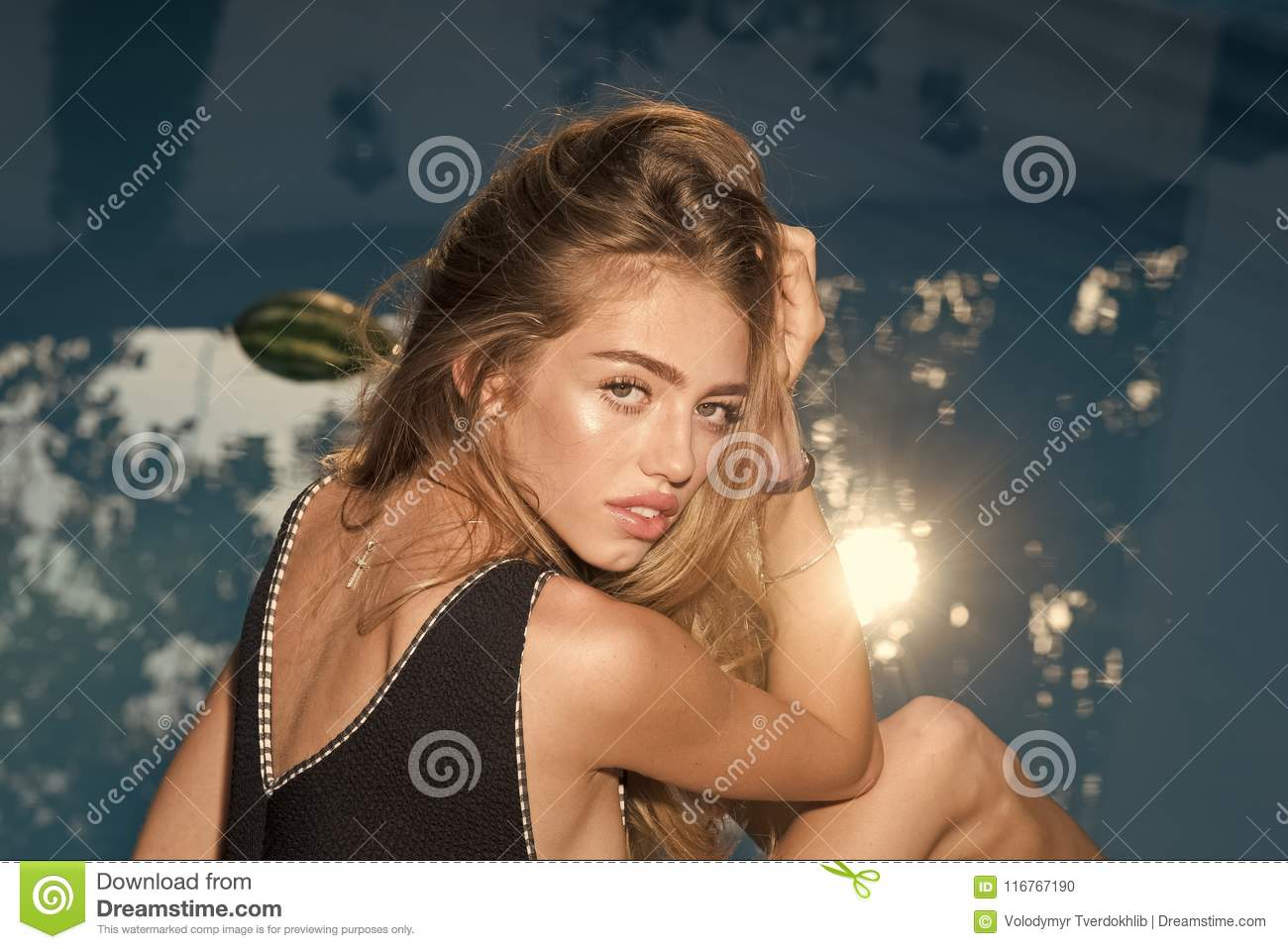 Fashion and beauty of woman with natural makeup and hair. Maldives or Miami beach, diet. woman on sea in swimsuit. Summer vacation and travel to ocean, ...